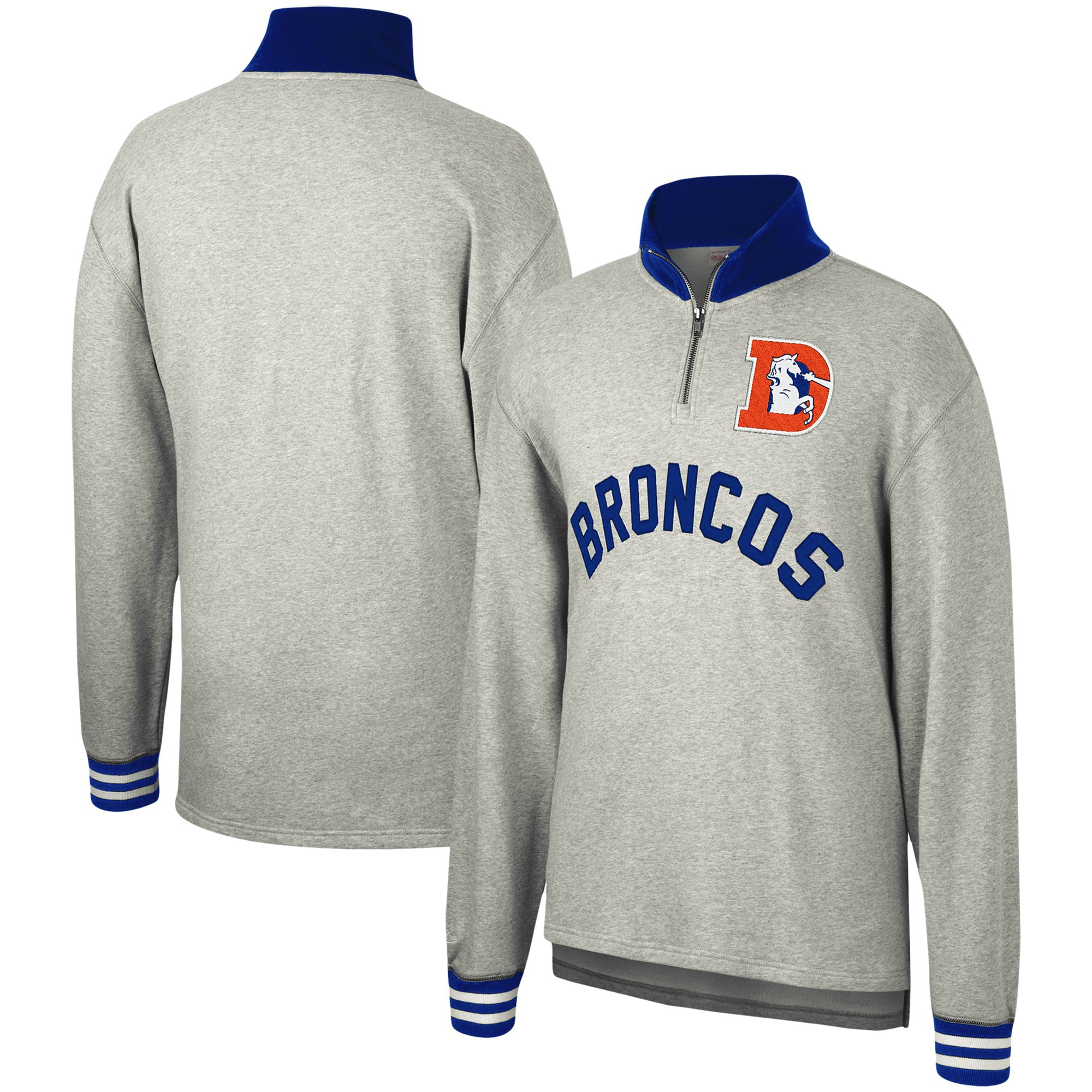 Denver Broncos Mitchell & Ness Sealed the Victory Quarter-Zip Pullover Jacket - Heathered Gray