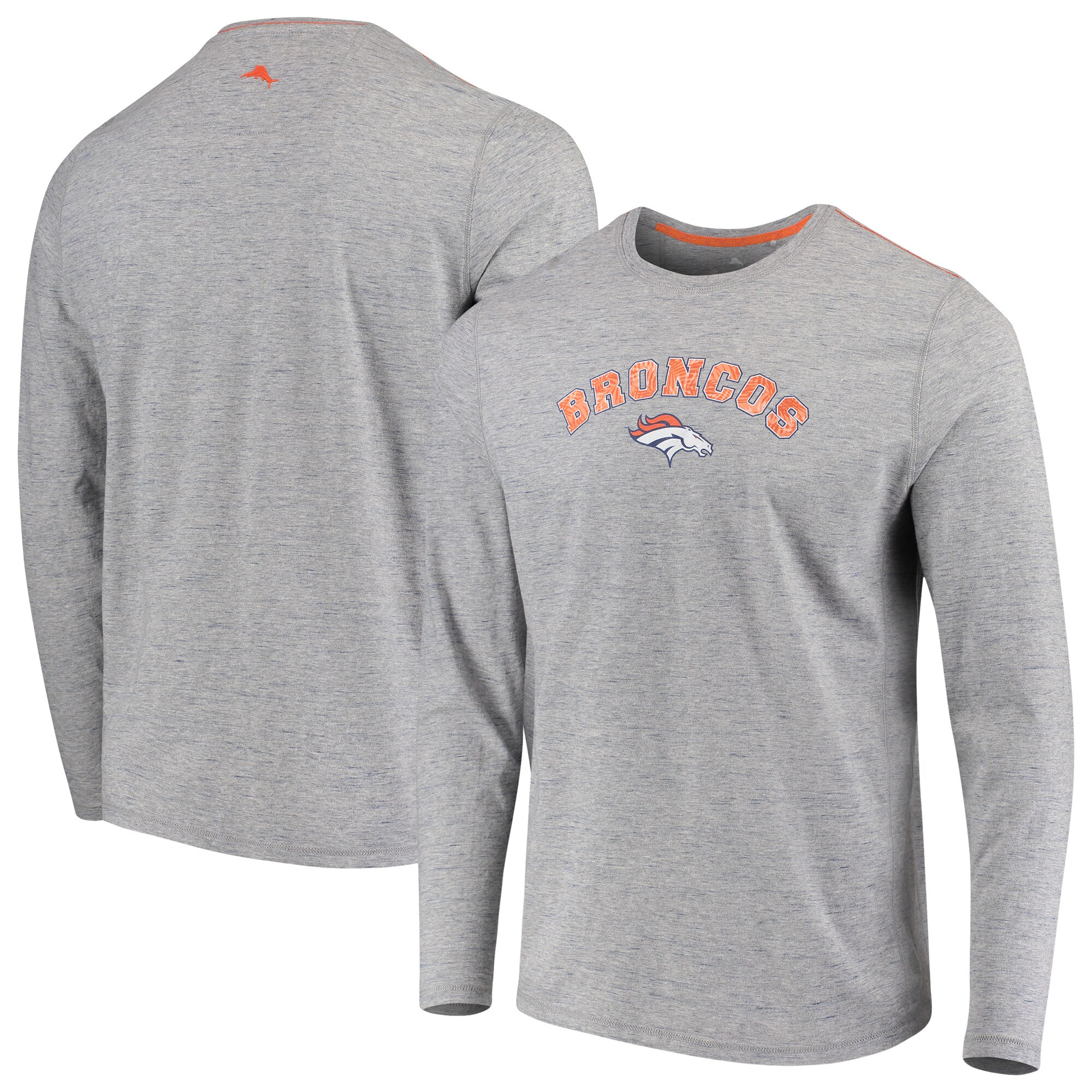 Denver Broncos Tommy Bahama Fronds In The Box Long Sleeve T-Shirt - Heathered Gray