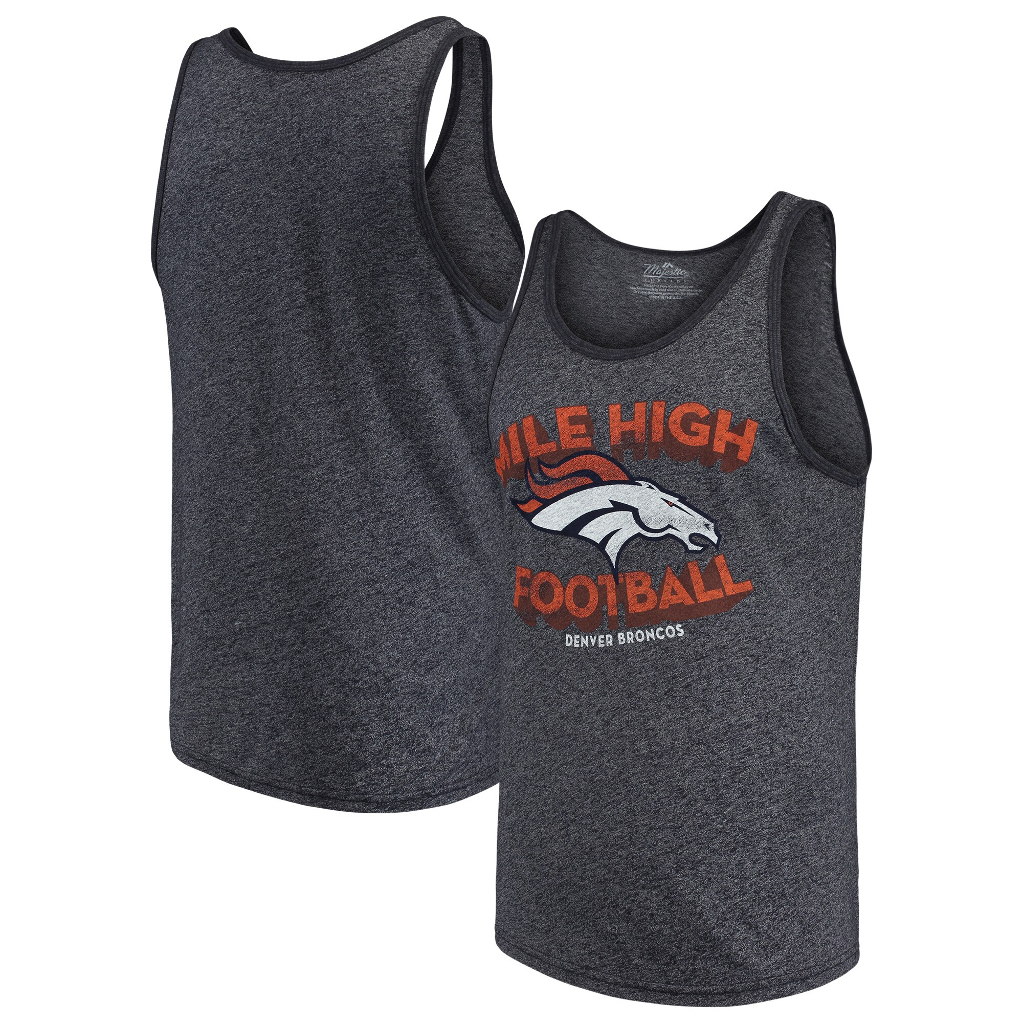 Denver Broncos Majestic Threads Slogan Tri-Blend Tank Top - Navy