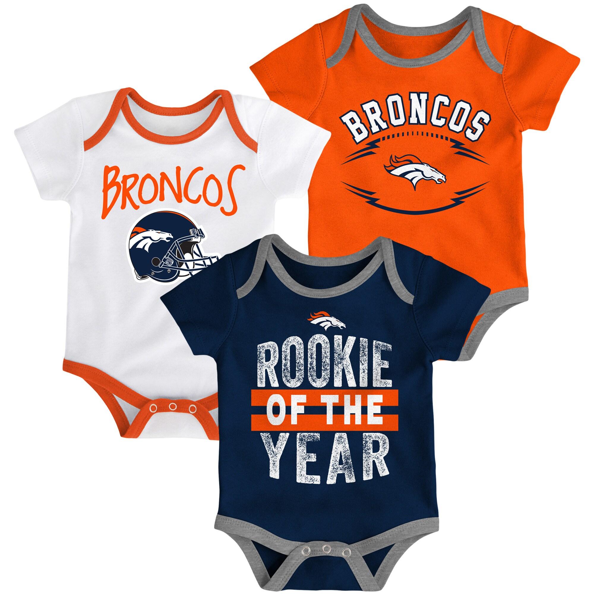 Denver Broncos Infant Kicking & Screaming Three-Piece Bodysuit Set - Orange/Navy/White