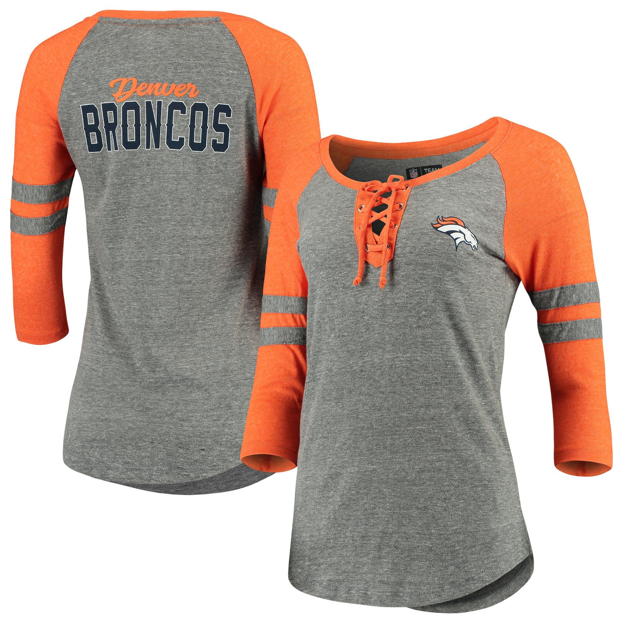 Denver Broncos New Era Women's Tri-Blend 3/4-Sleeve Raglan Laceup T-Shirt - Heathered Gray