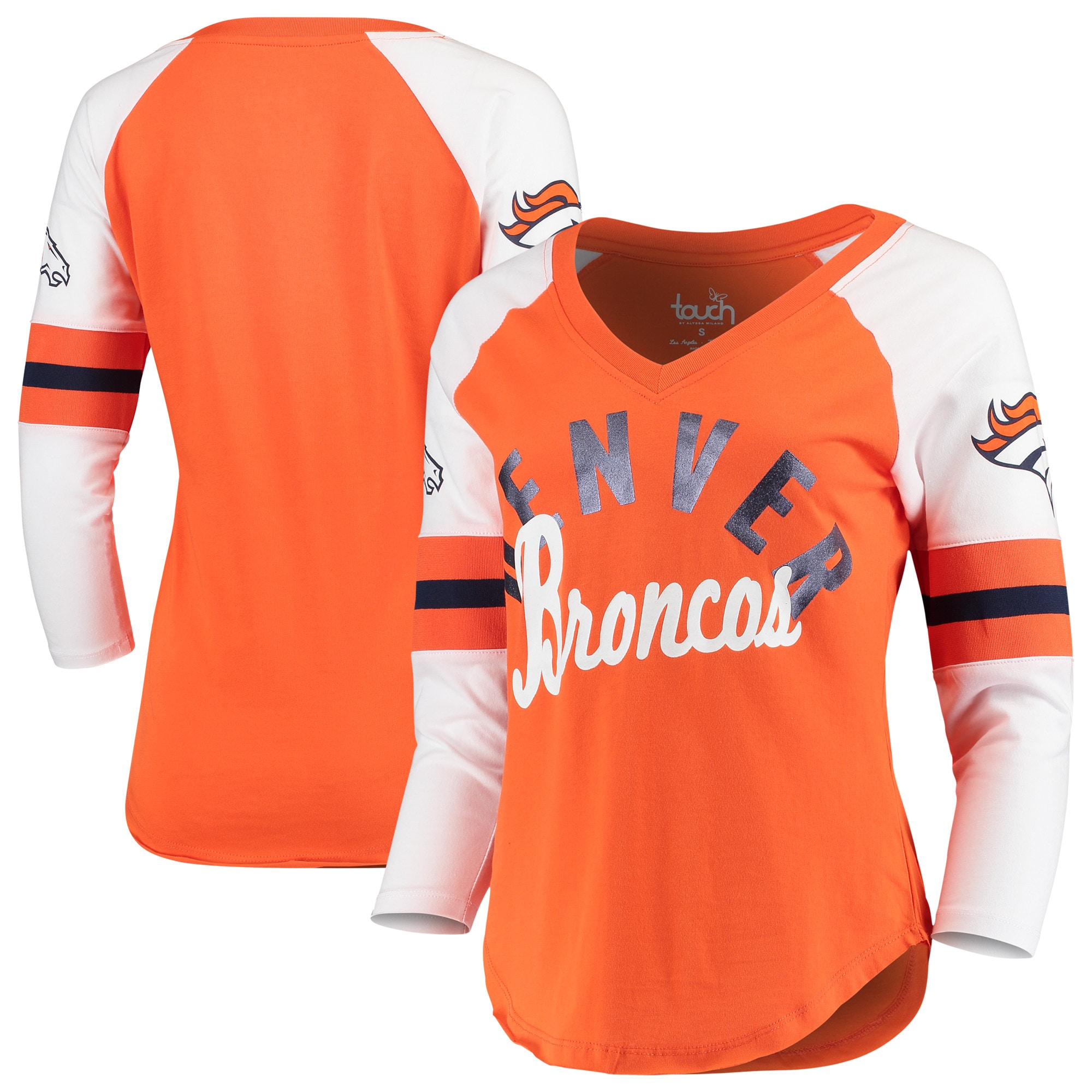 Denver Broncos Touch by Alyssa Milano Women's Reflex 3/4-Sleeve Raglan V-Neck T-Shirt - Orange/White