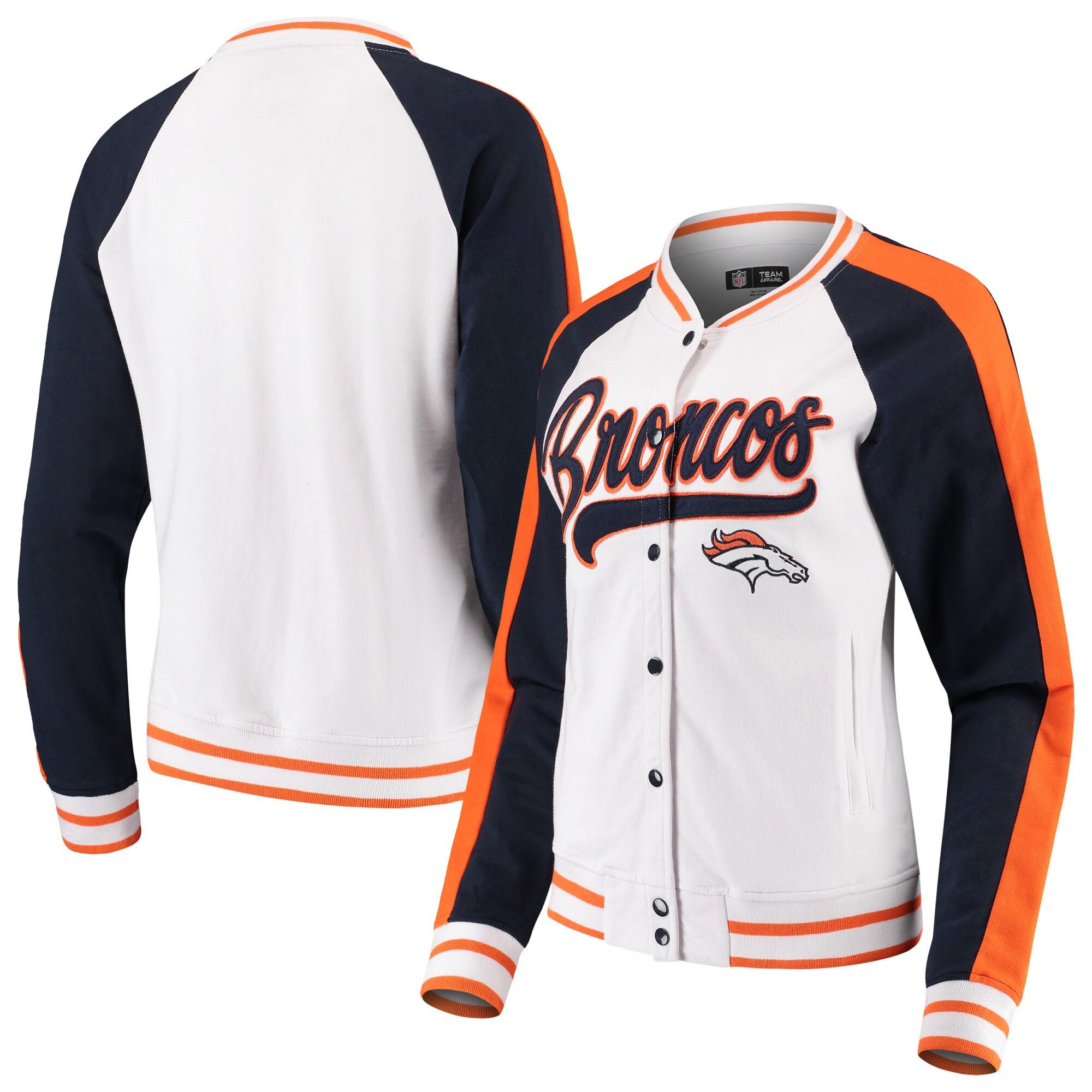 Denver Broncos New Era Women's Varsity Full Snap Jacket - White/Navy
