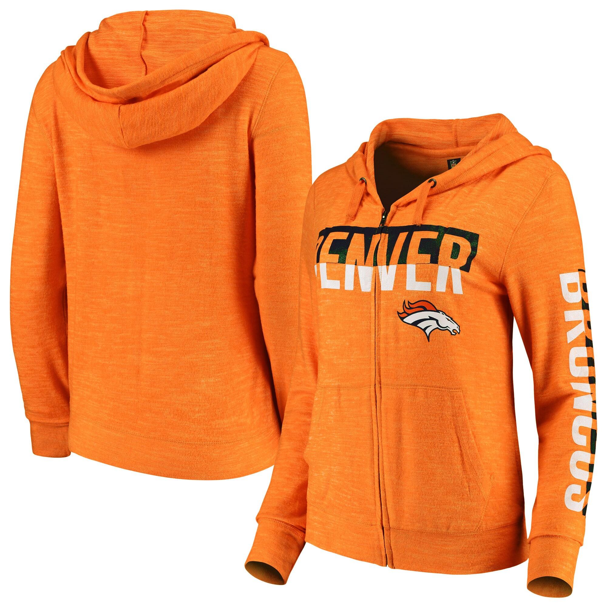 Denver Broncos New Era Women's Glitter Sweater Knit Tri-Blend Full-Zip Hoodie - Orange
