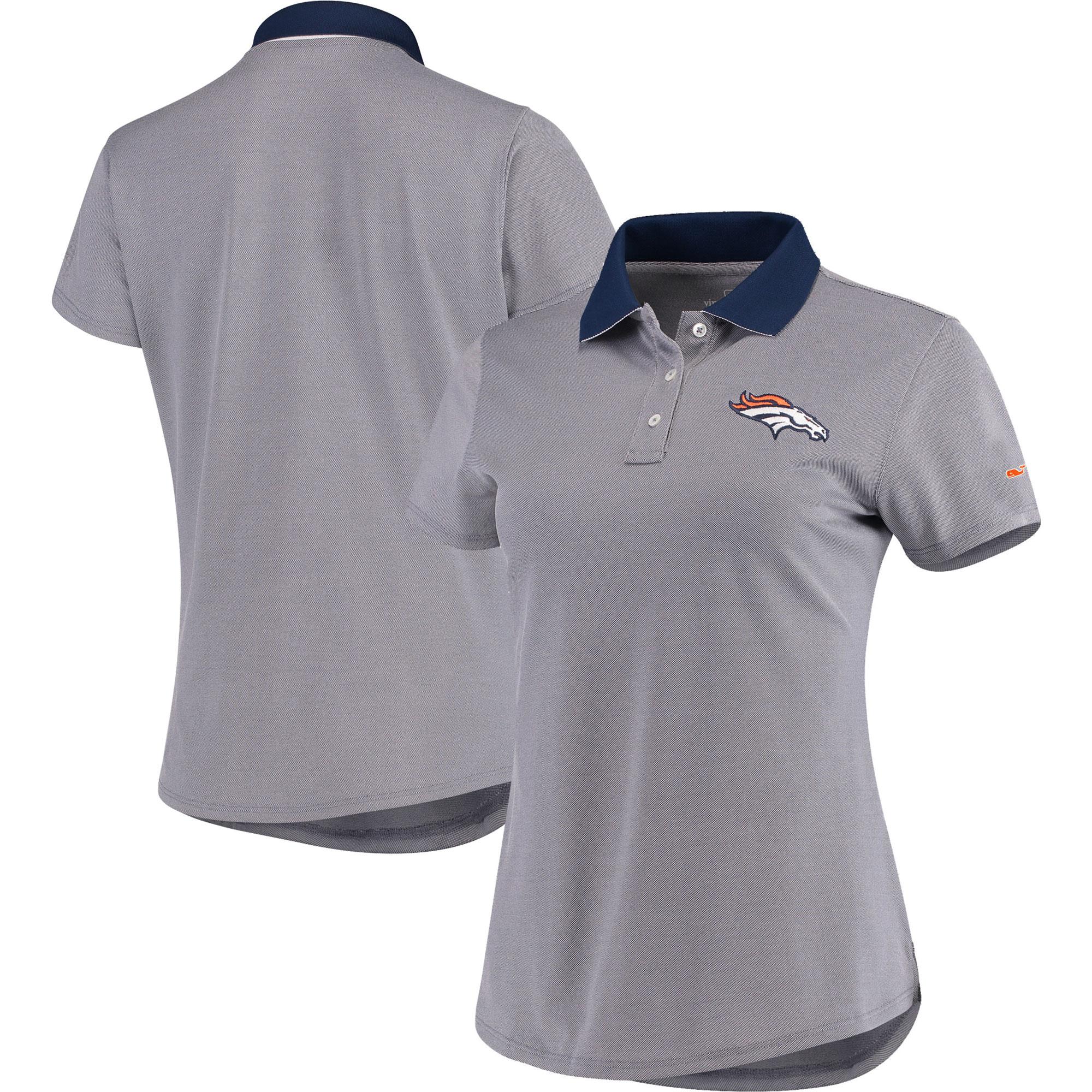 Denver Broncos Vineyard Vines Women's Pique Sport Performance Polo - Navy