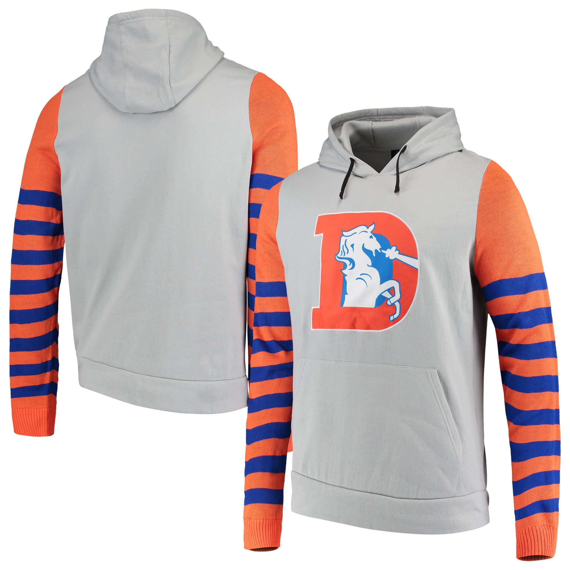 Denver Broncos Retro Stripe Fleece Pullover Hoodie - Gray