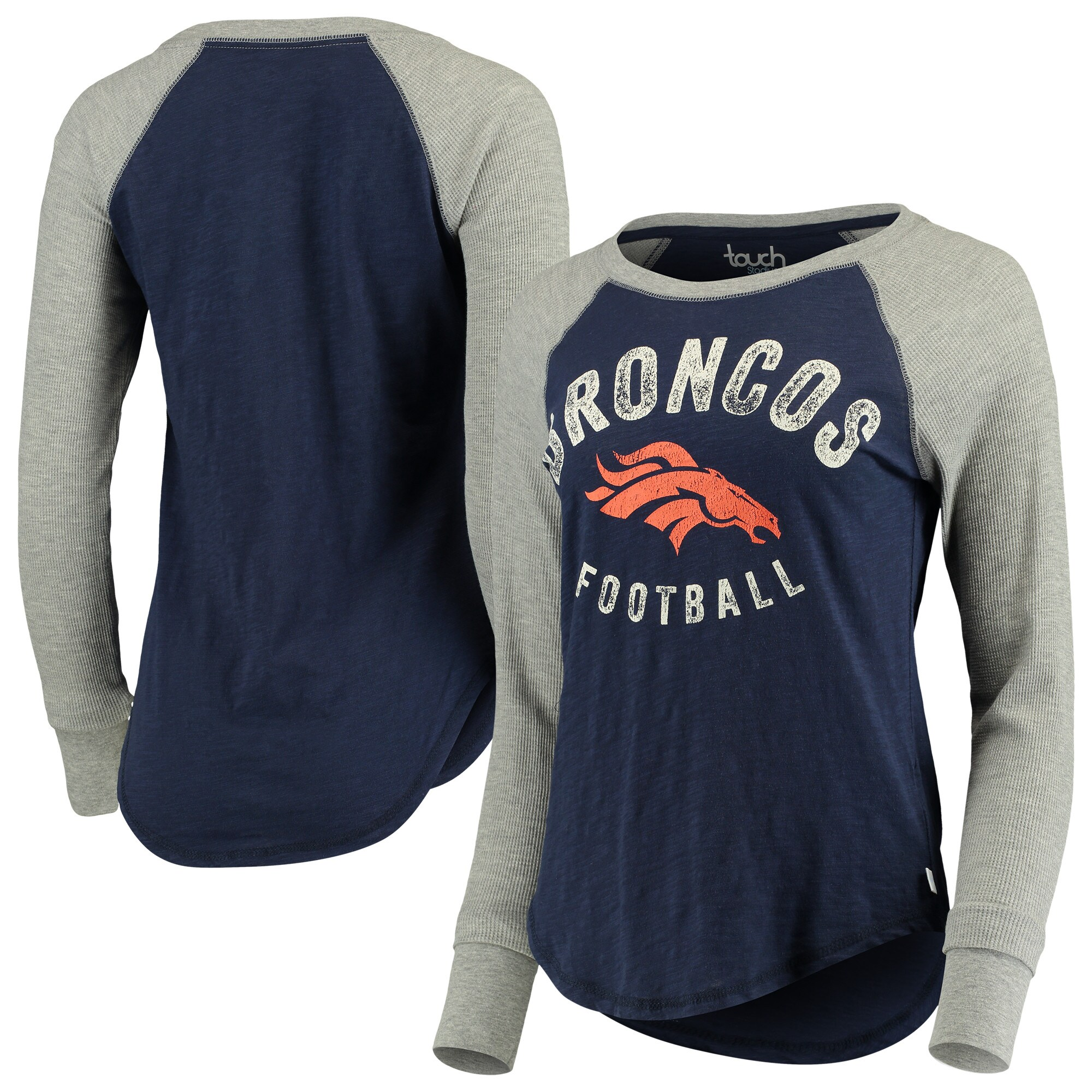 Denver Broncos Touch by Alyssa Milano Women's Lay-Up Thermal Raglan Long Sleeve T-Shirt - Navy