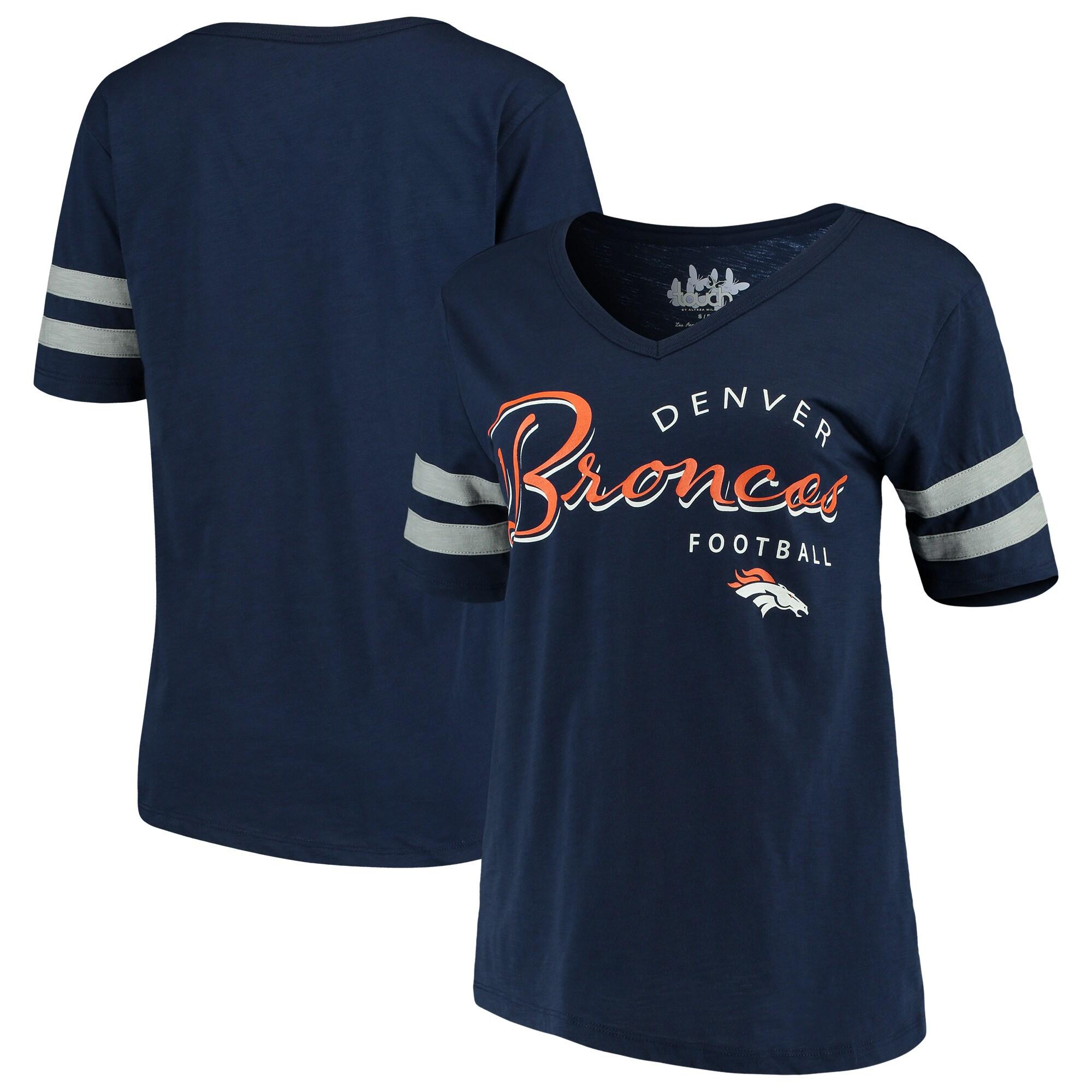Denver Broncos Touch by Alyssa Milano Women's Triple Play V-Neck T-Shirt - Navy