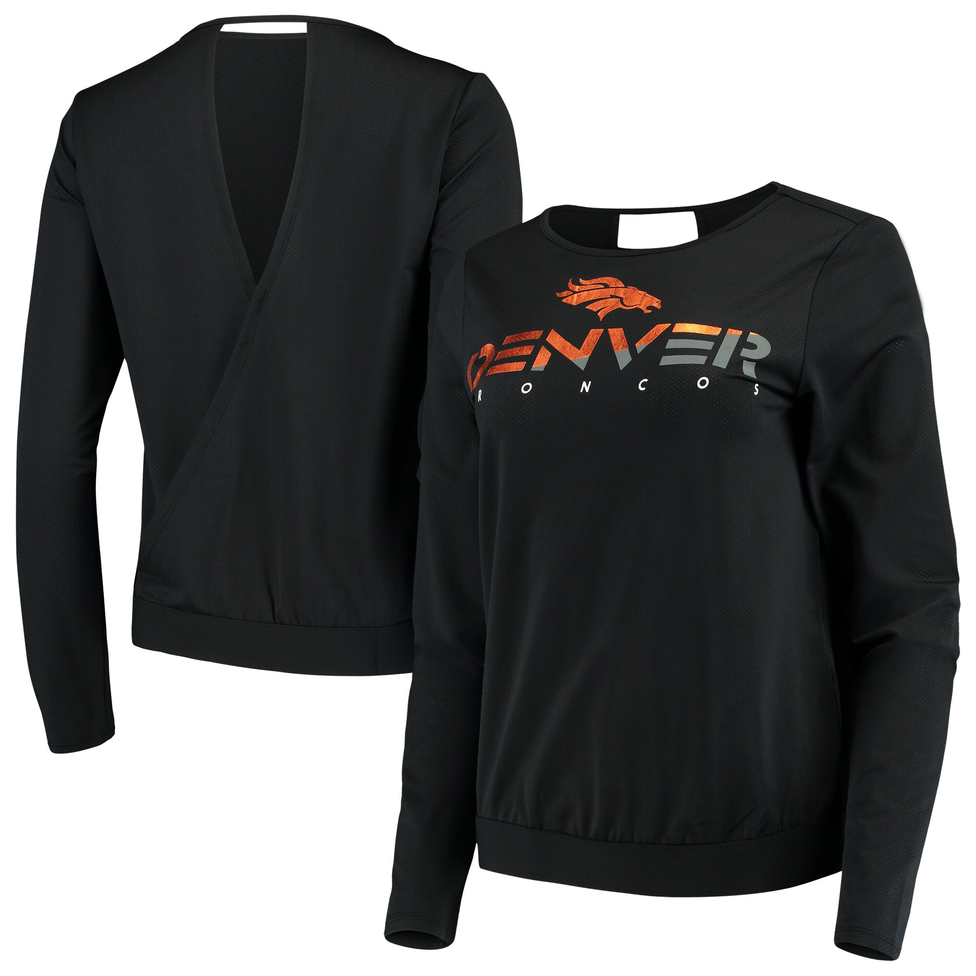 Denver Broncos Touch by Alyssa Milano Women's Breeze Back Long Sleeve V-Neck T-Shirt - Black