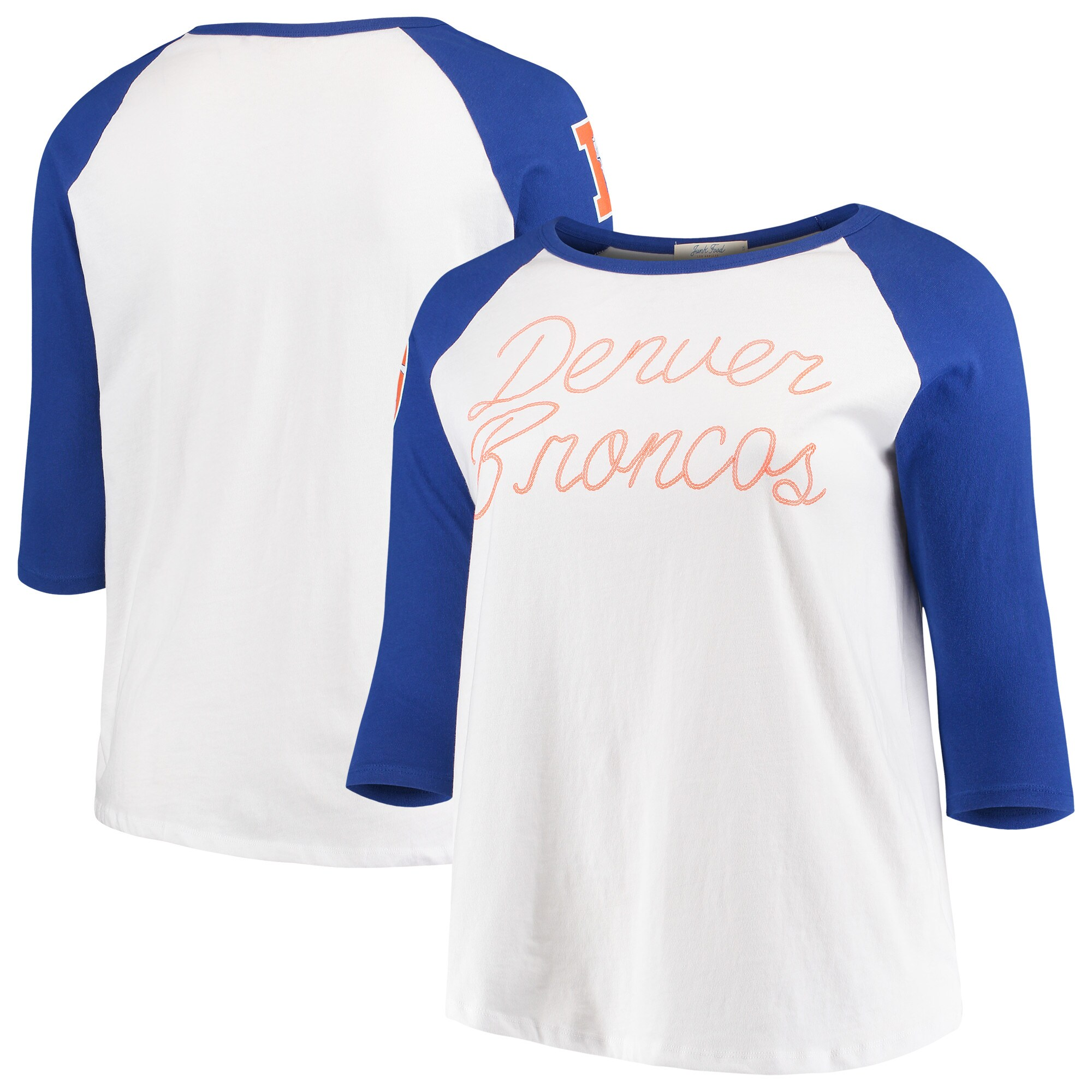 Denver Broncos Junk Food Women's Plus Size Raglan 3/4-Sleeve T-Shirt - White/Royal