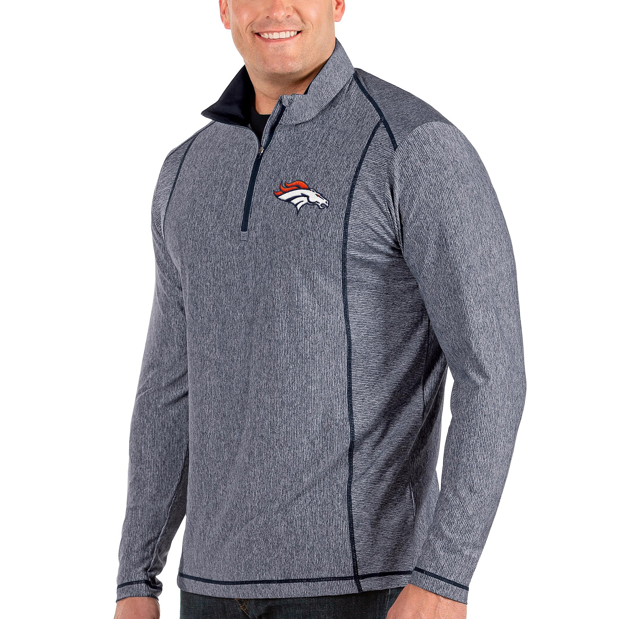 Denver Broncos Antigua Tempo Big & Tall Half-Zip Pullover Jacket - Heather Navy