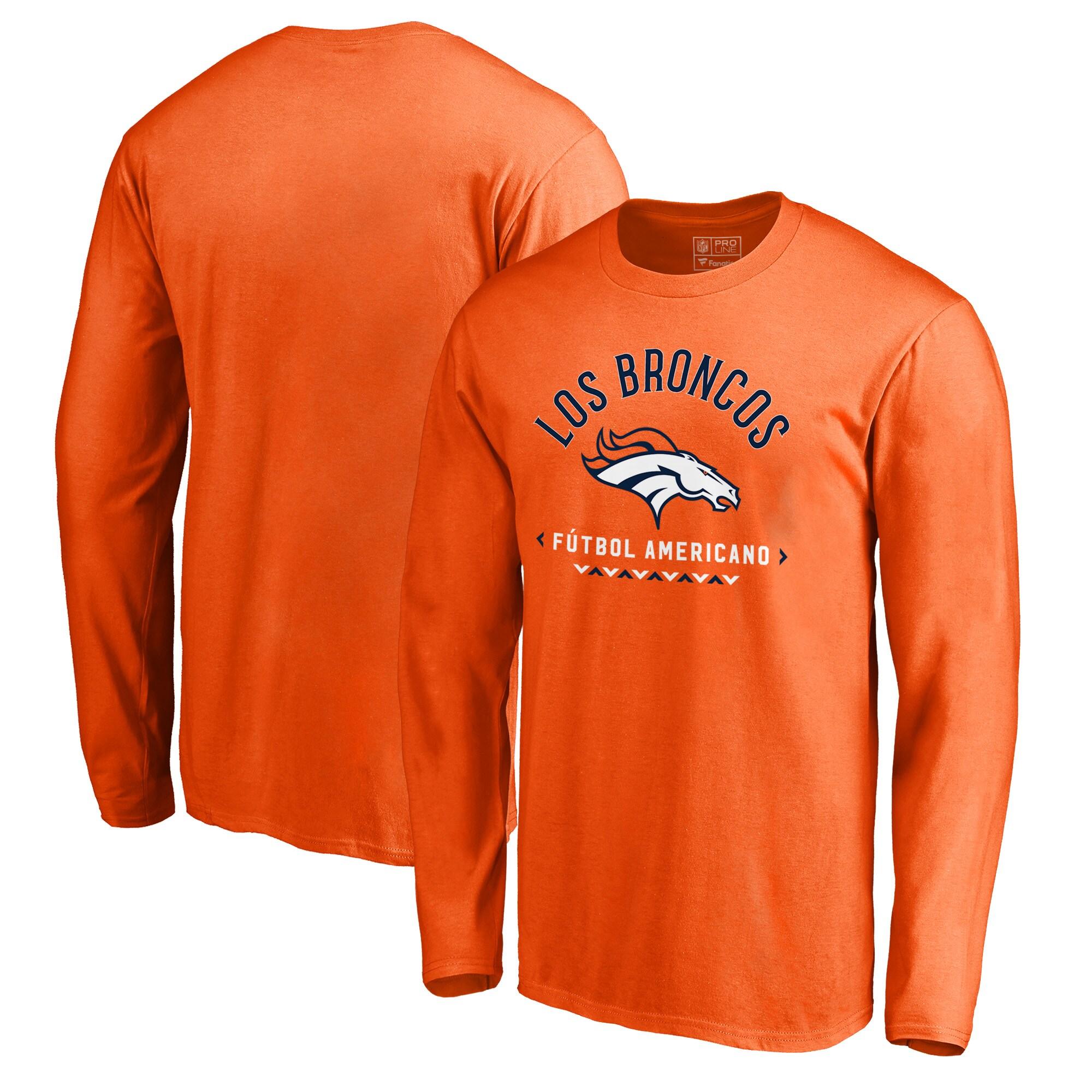 Denver Broncos NFL Pro Line by Fanatics Branded Futbol Americano Long Sleeve T-Shirt - Orange