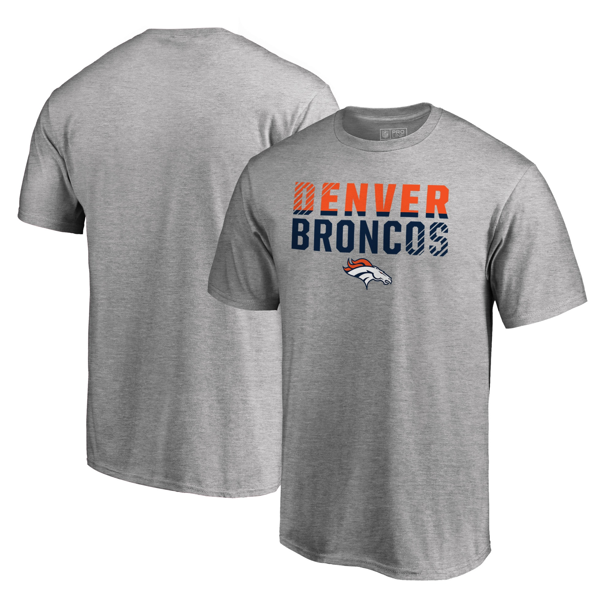 Denver Broncos NFL Pro Line by Fanatics Branded Iconic Collection Fade Out Big and Tall T-Shirt - Ash