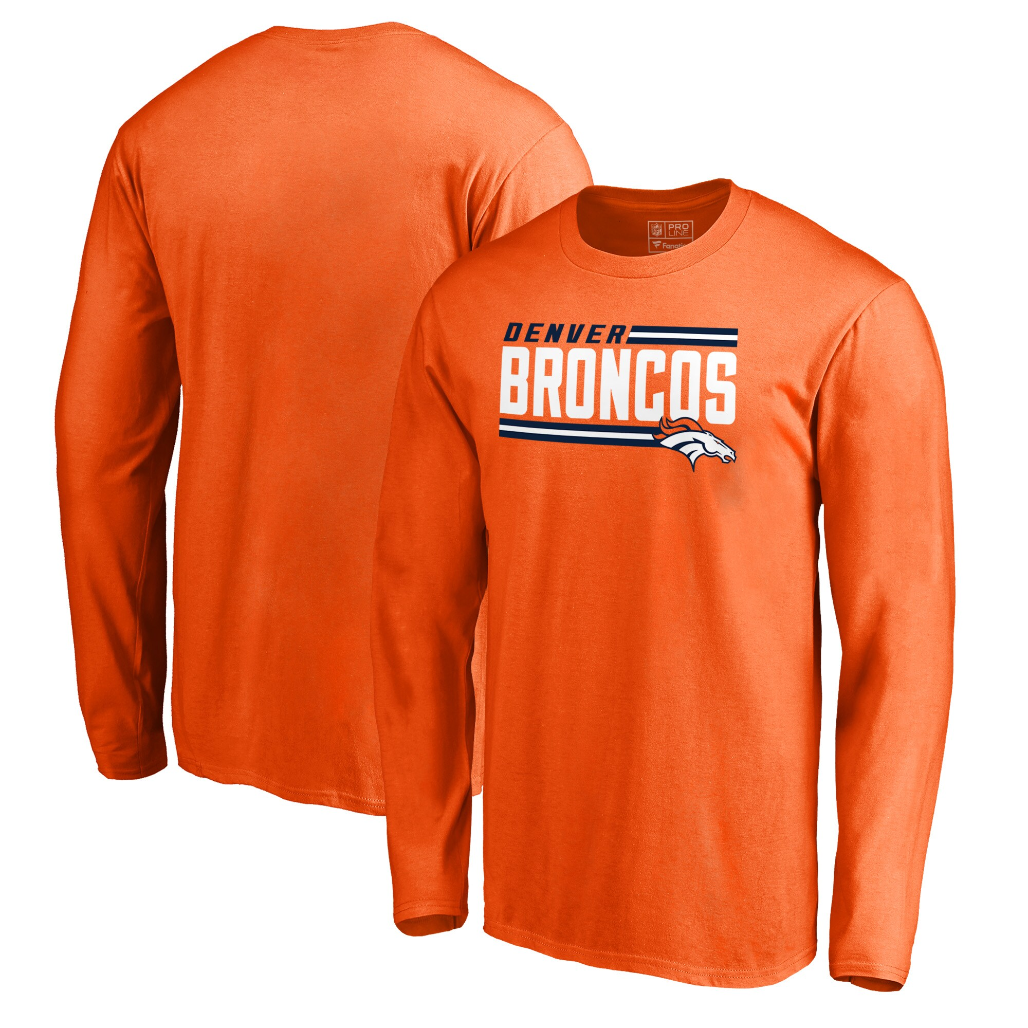 Denver Broncos NFL Pro Line by Fanatics Branded Iconic Collection Big and Tall On Side Stripe Long Sleeve T-Shirt - Orange