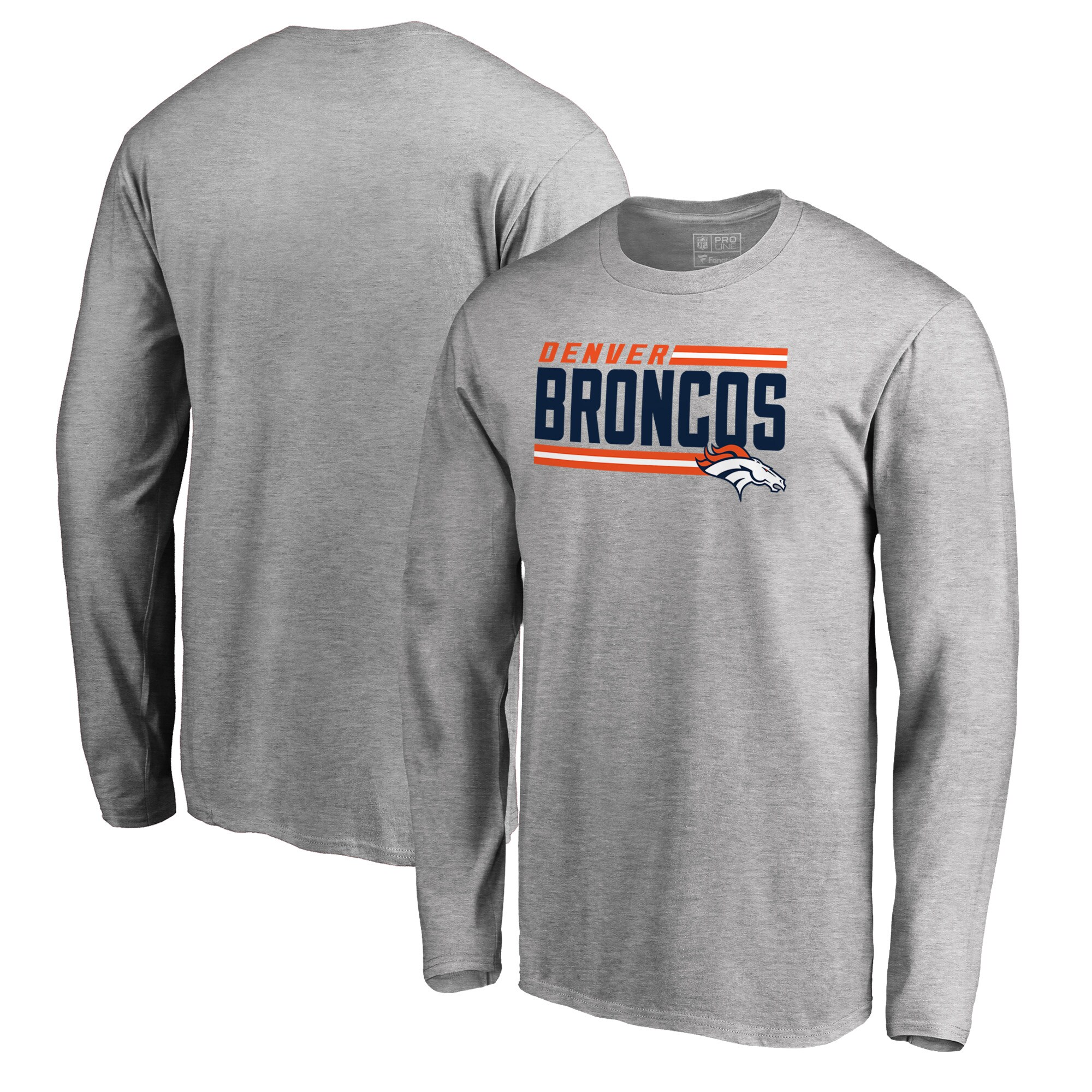 Denver Broncos NFL Pro Line by Fanatics Branded Iconic Collection On Side Stripe Long Sleeve T-Shirt - Ash