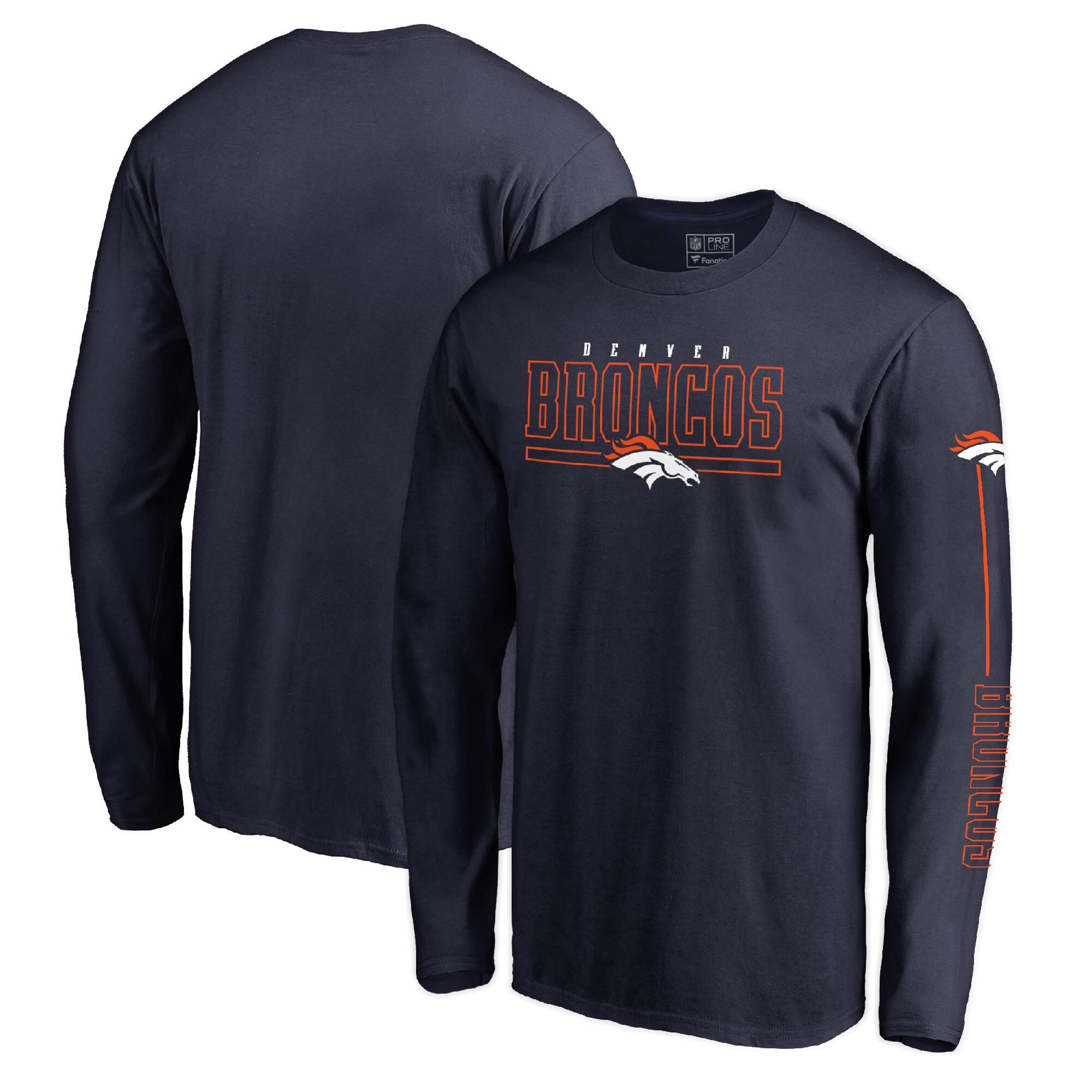 Denver Broncos NFL Pro Line by Fanatics Branded Front Line Long Sleeve T-Shirt - Navy