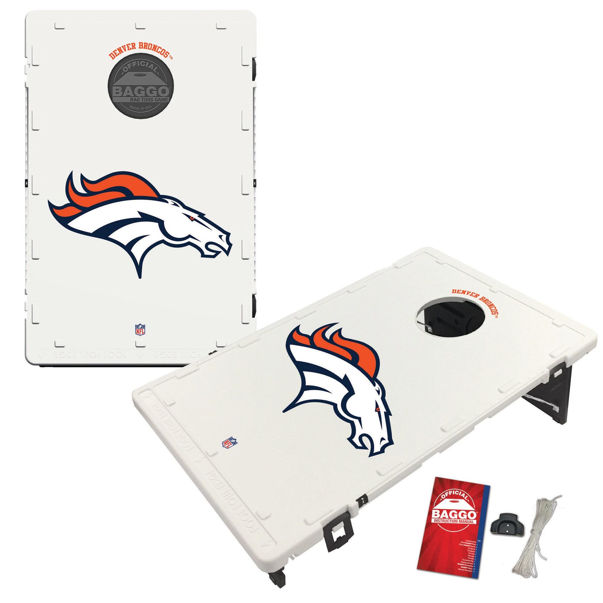 Denver Broncos 2' x 3' Classic Design BAGGO Cornhole Board Tailgate Toss Set
