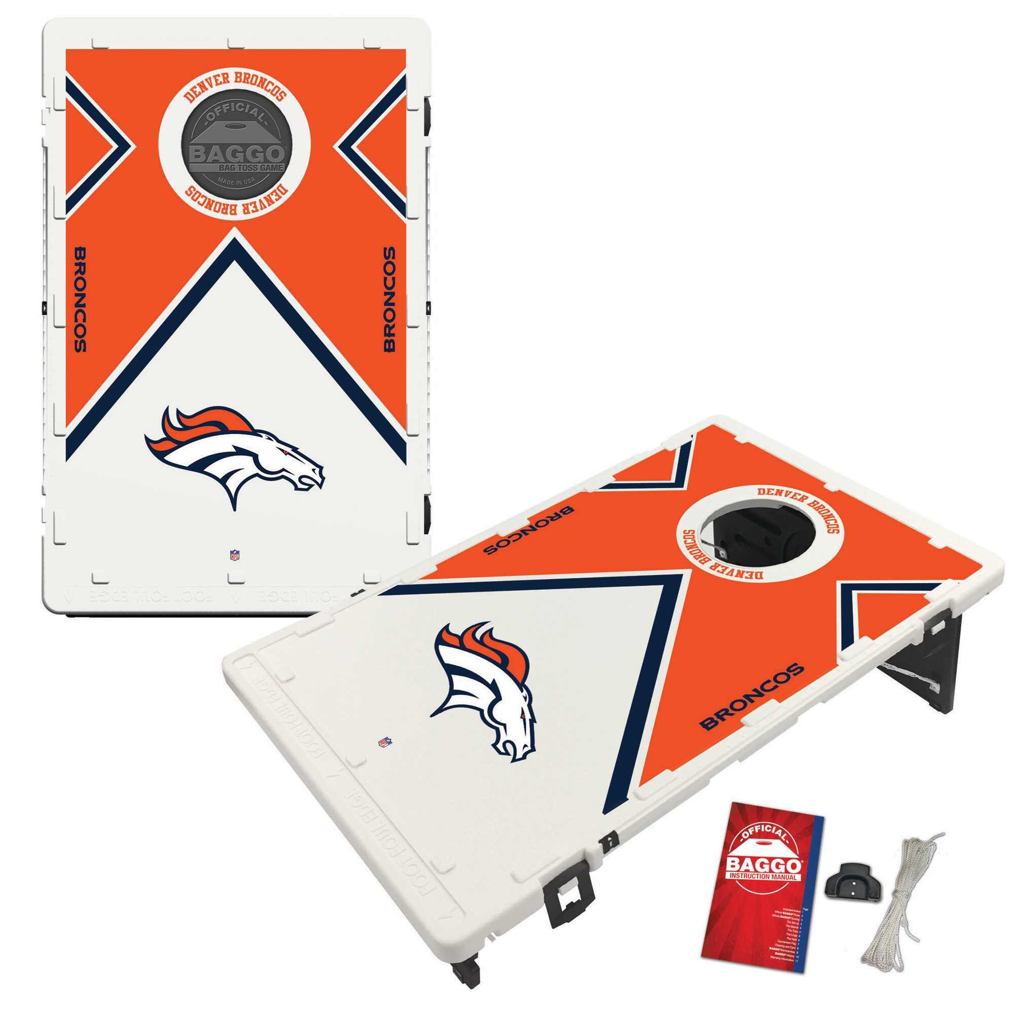 Denver Broncos 2' x 3' BAGGO Vintage Cornhole Board Tailgate Toss Set