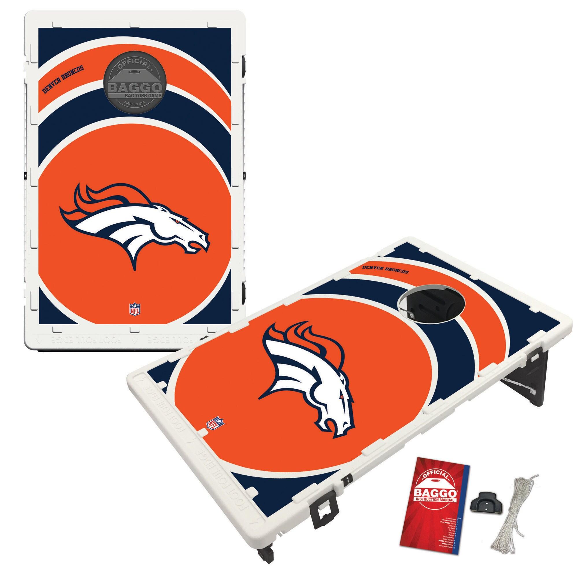 Denver Broncos 2' x 3' BAGGO Vortex Cornhole Board Tailgate Toss Set