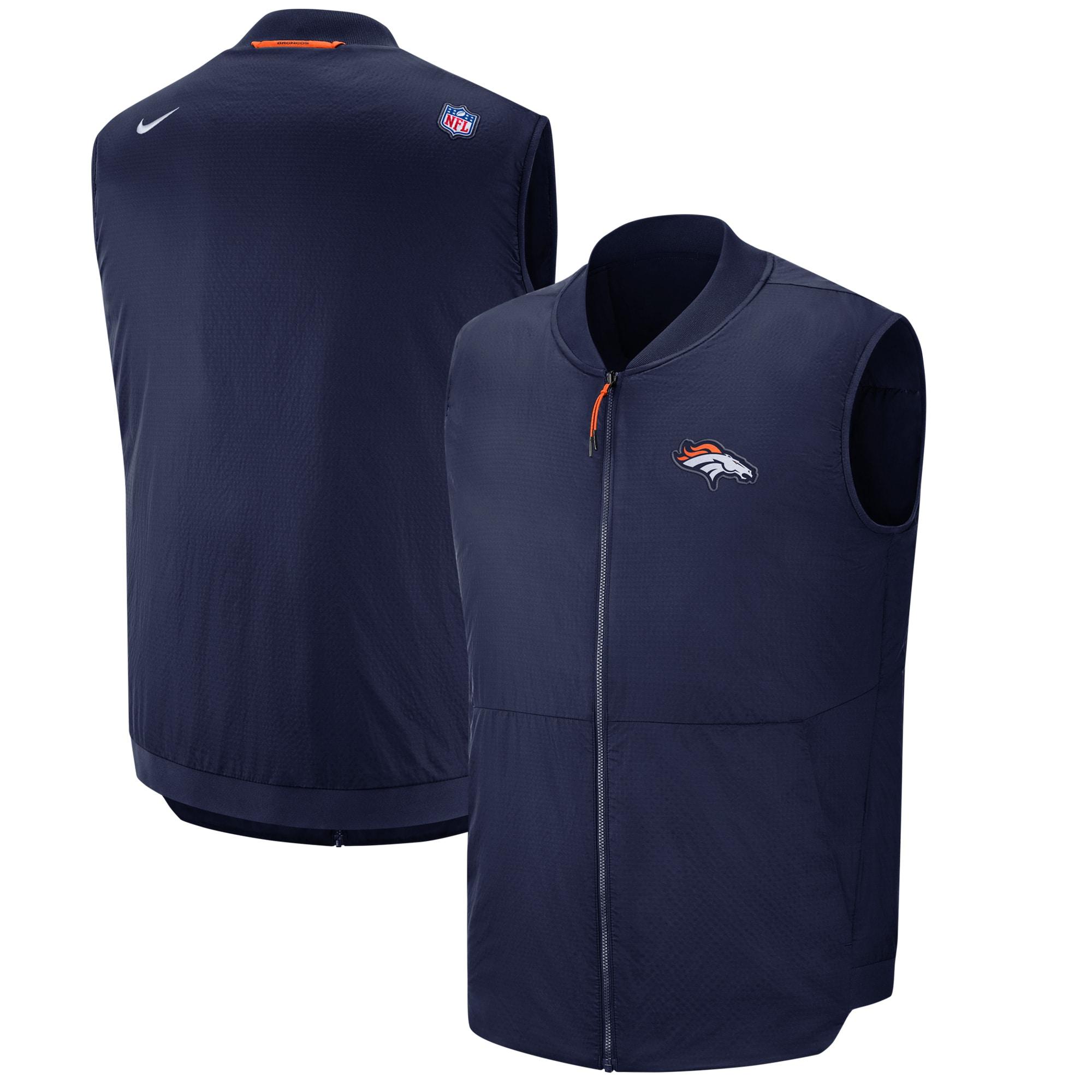 Denver Broncos Nike Sideline Full-Zip Vest - Navy