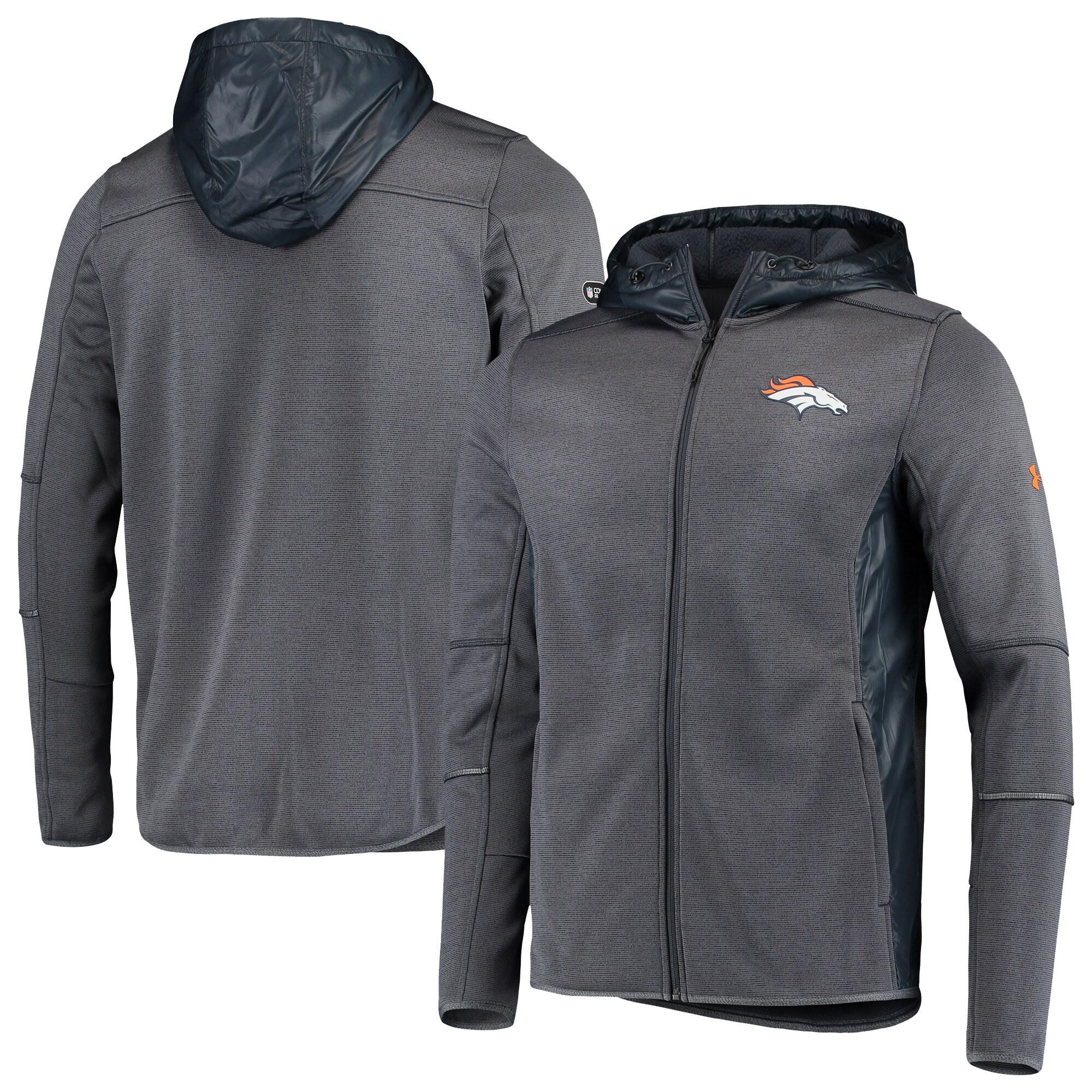 Denver Broncos Under Armour Combine Authentic Full-Zip Swacket - Charcoal