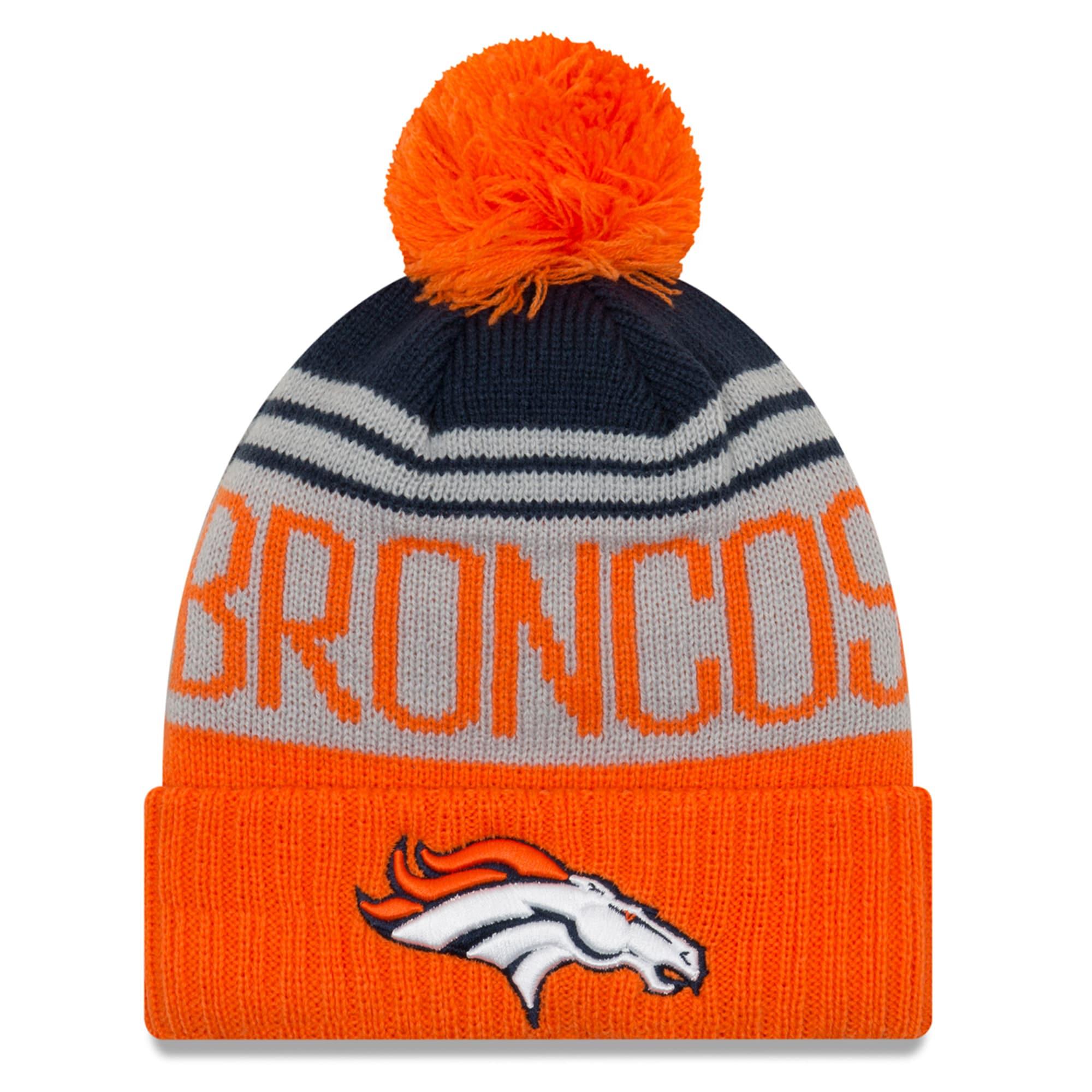 Denver Broncos New Era Team Pride Cuffed Knit Hat with Pom - Gray/Orange