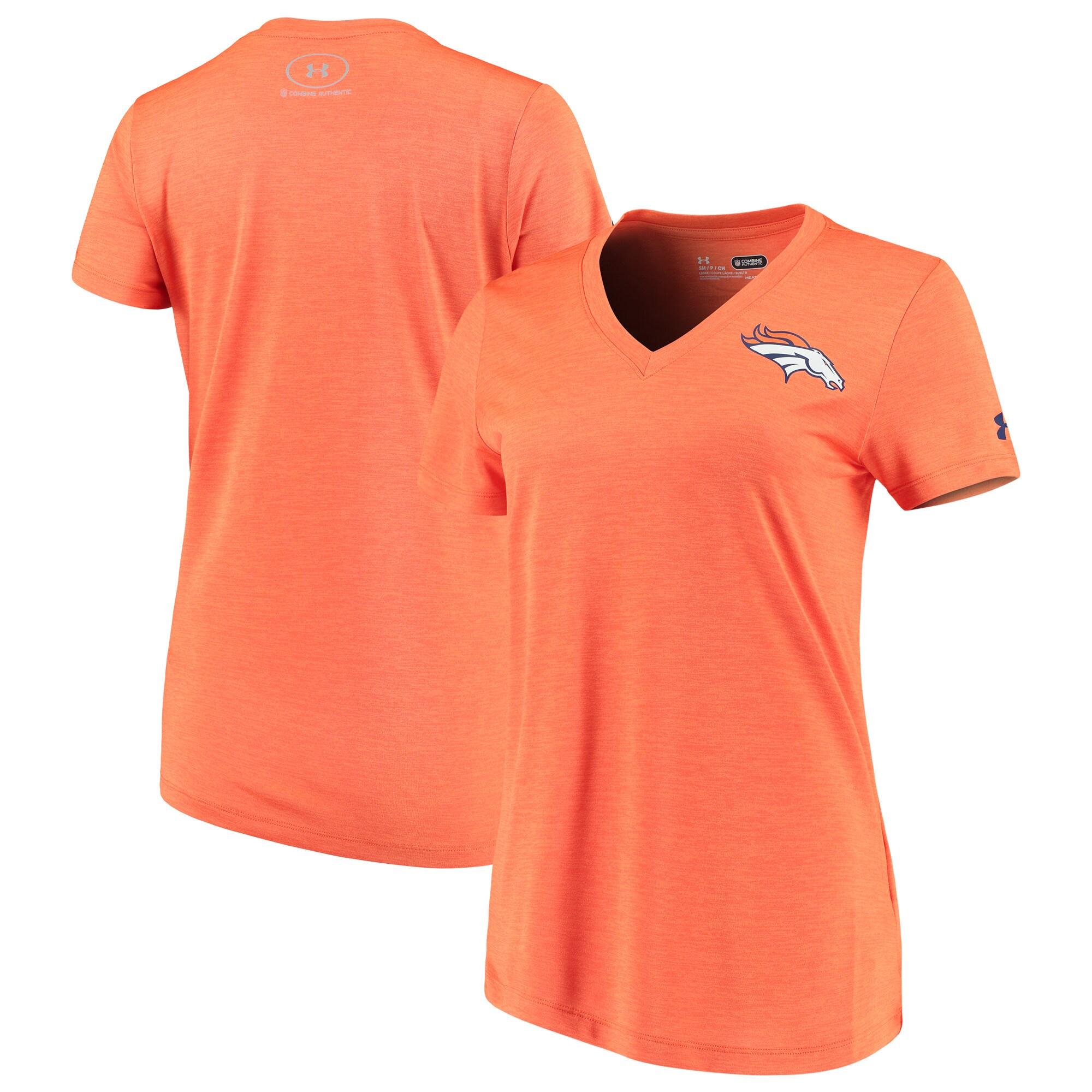 Denver Broncos Under Armour Women's Combine Authentic Novelty Performance V-Neck T-Shirt - Orange