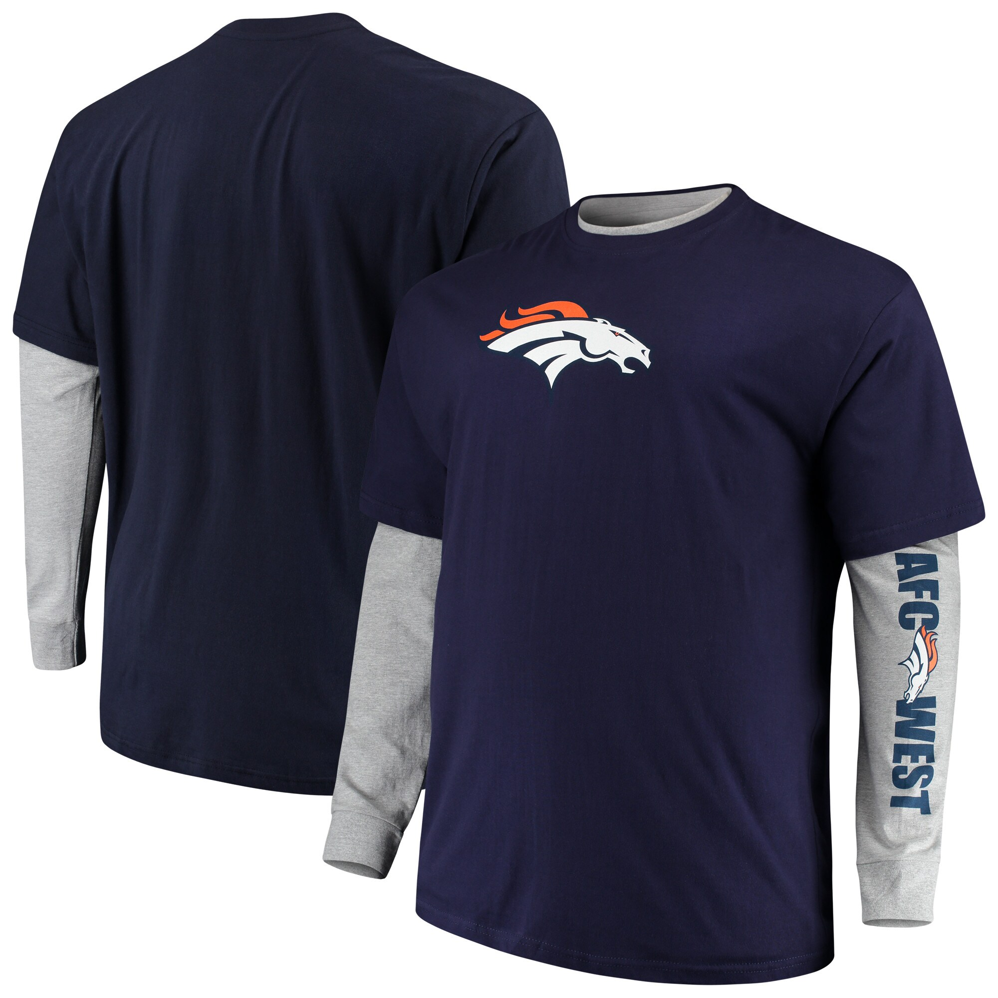Denver Broncos Majestic Big & Tall T-Shirt Combo Set - Navy/Heathered Gray