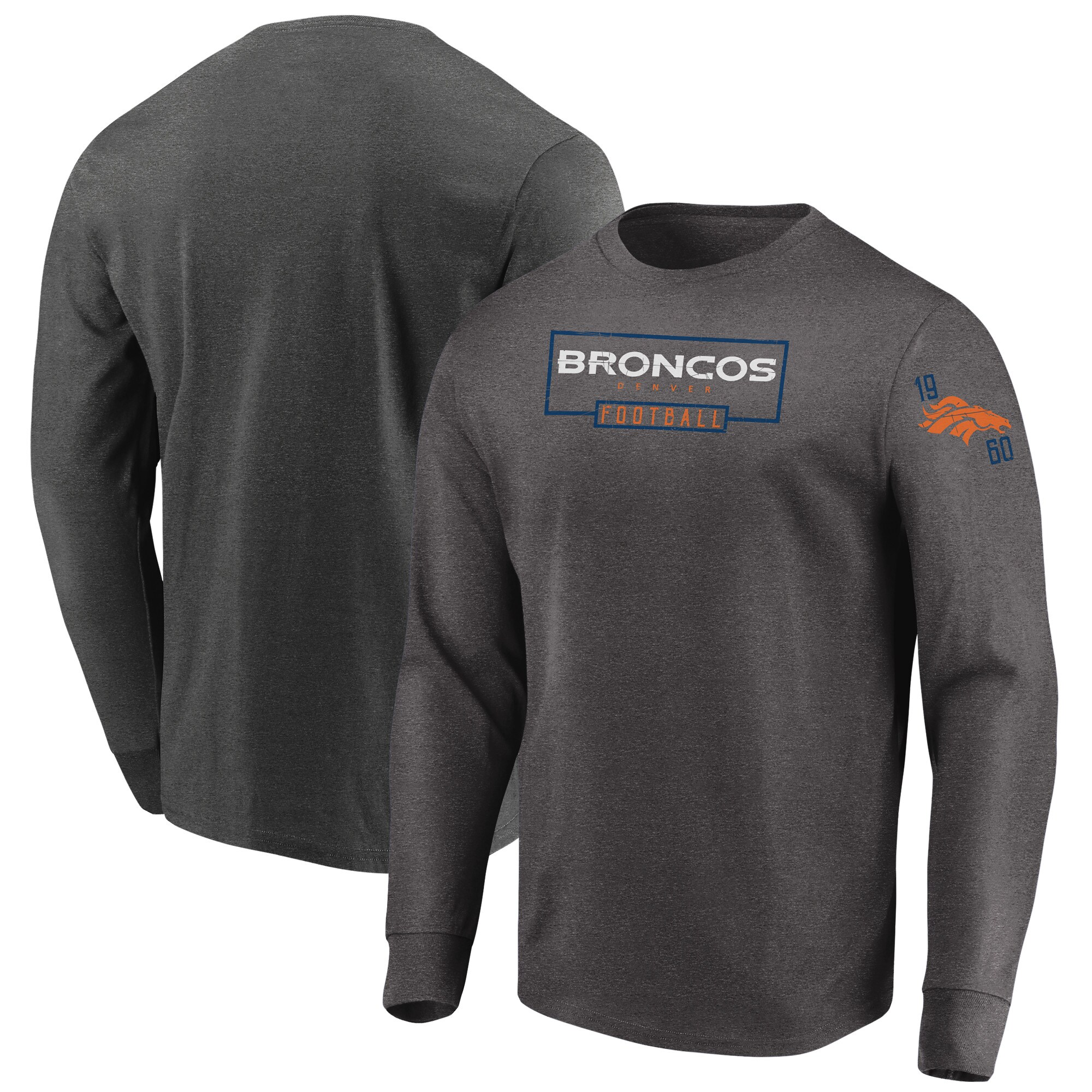 Denver Broncos Majestic Big & Tall Kick Return Long Sleeve T-Shirt - Heathered Charcoal