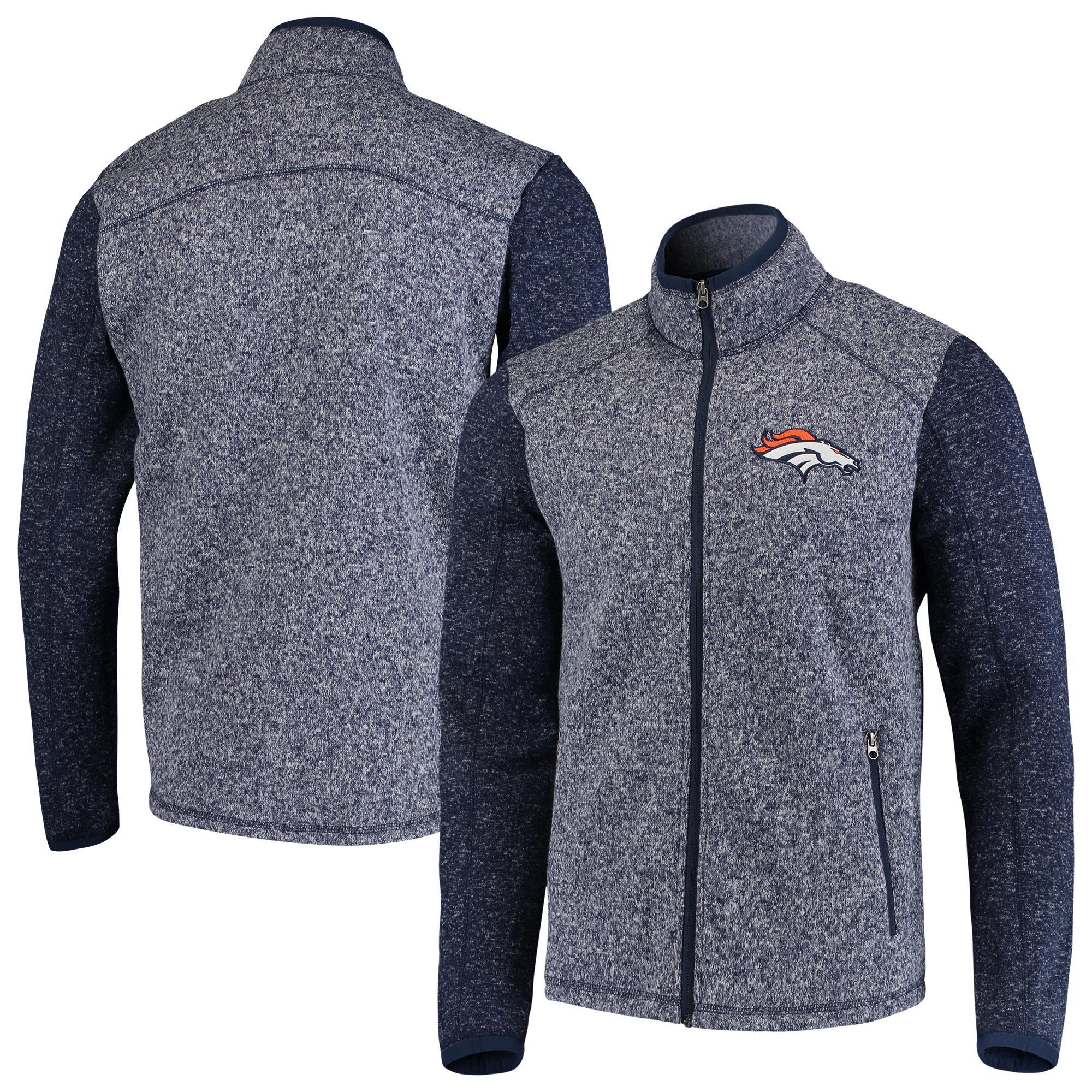 Denver Broncos G-III Sports by Carl Banks Alpine Zone Sweater Fleece Full-Zip Jacket - Heathered Navy