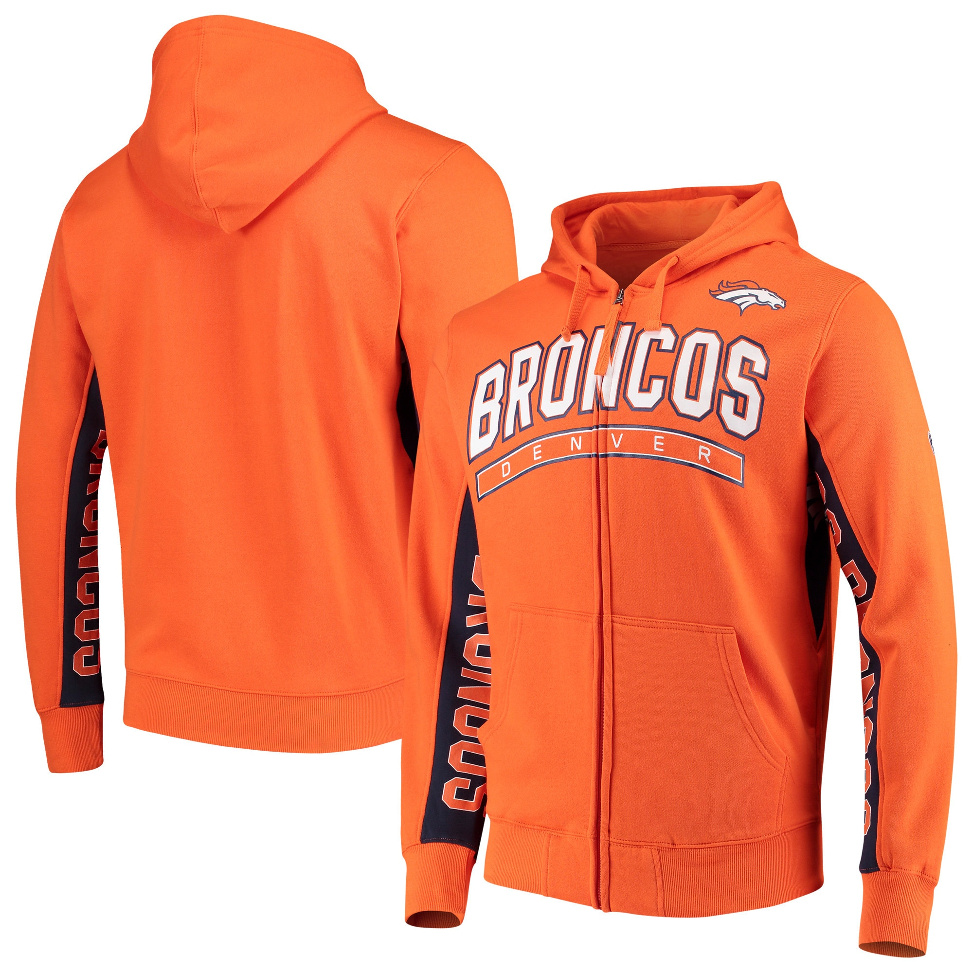 Denver Broncos Hands High Blowout Full-Zip Hoodie - Orange/Navy