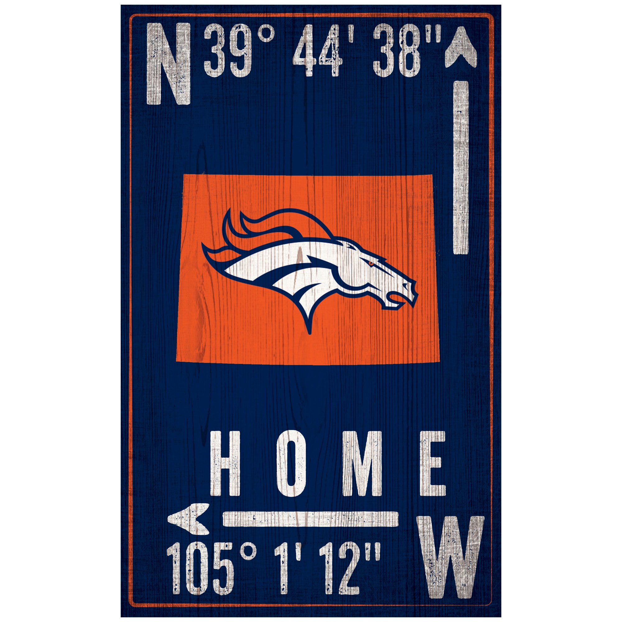 "Denver Broncos 11"" x 19"" Coordinate Sign"