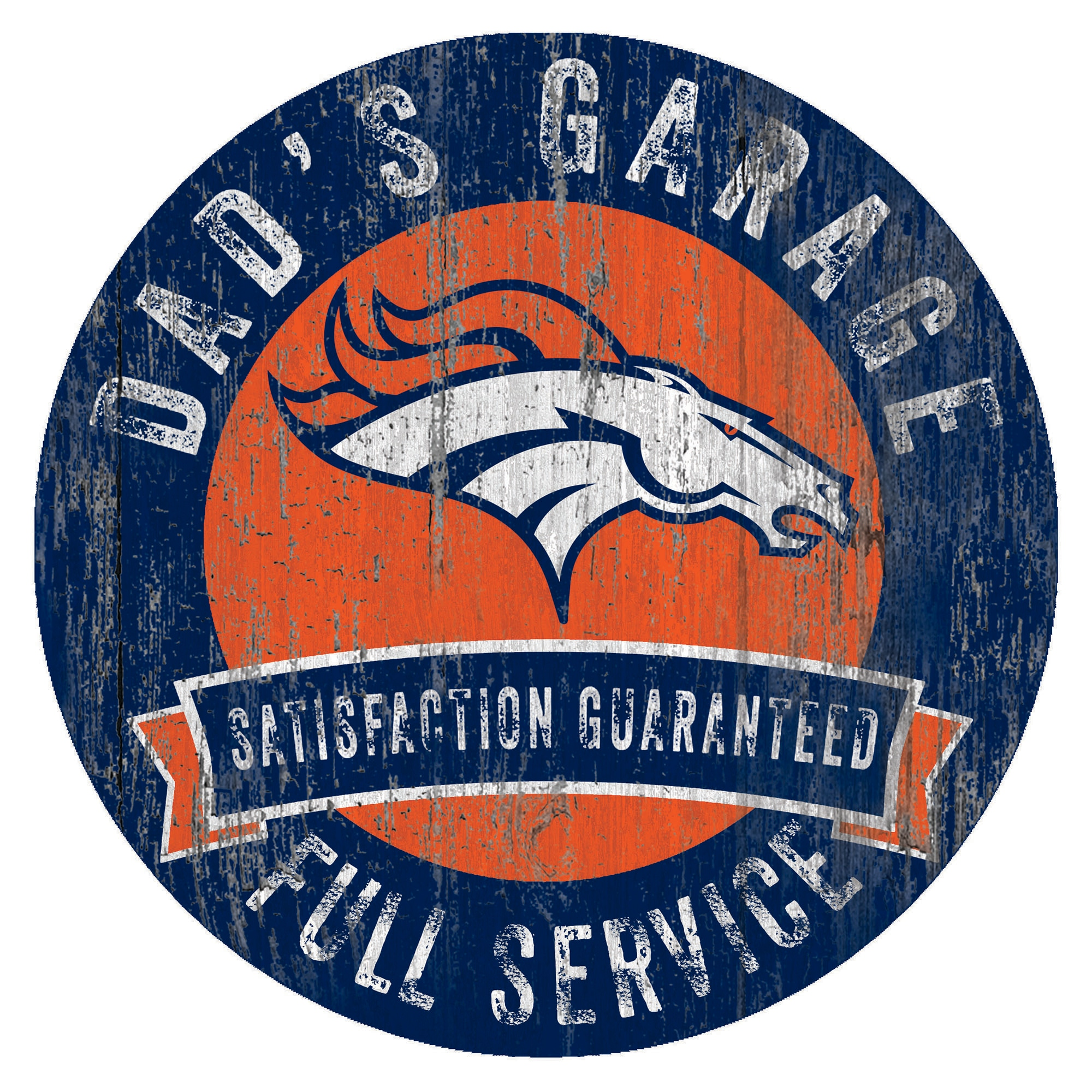 "Denver Broncos 12"" x 12"" Dad's Garage Sign"