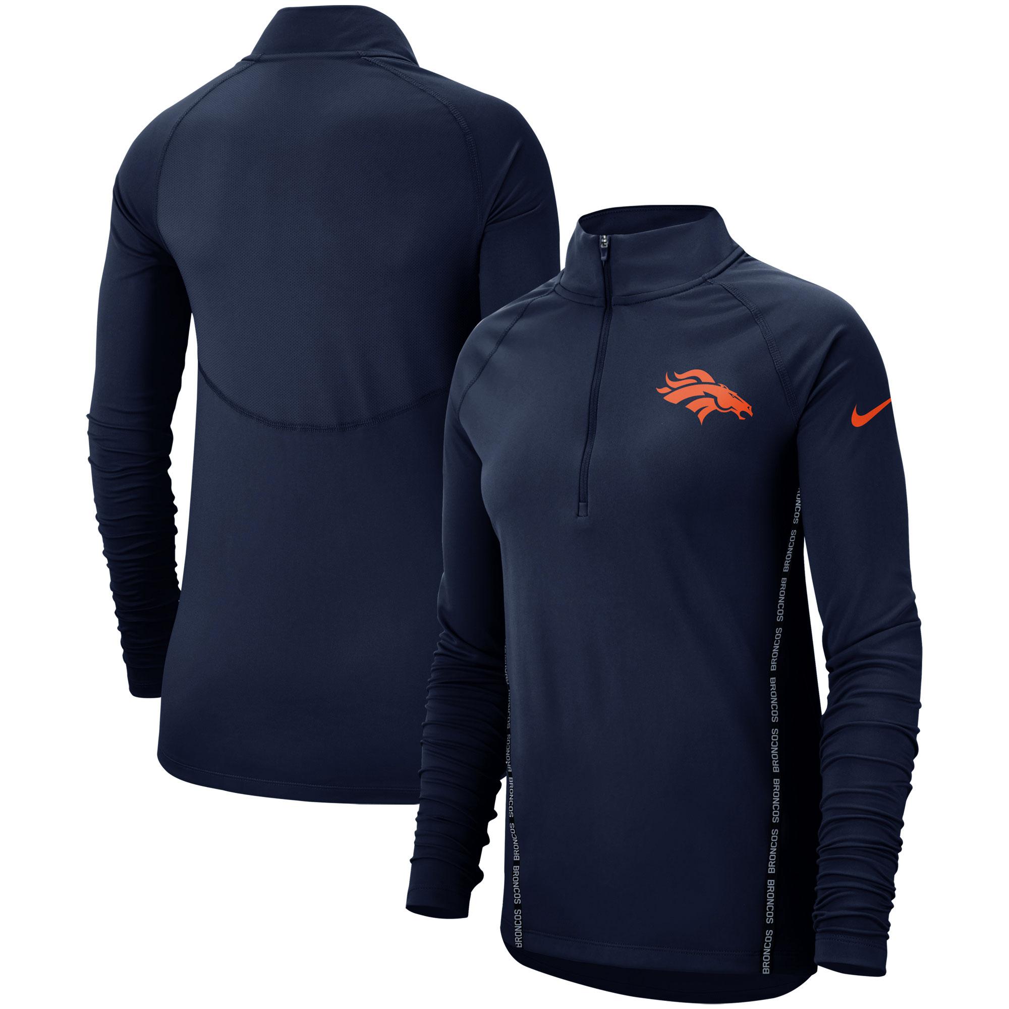 Denver Broncos Nike Women's Core Half-Zip Pullover Jacket - Navy