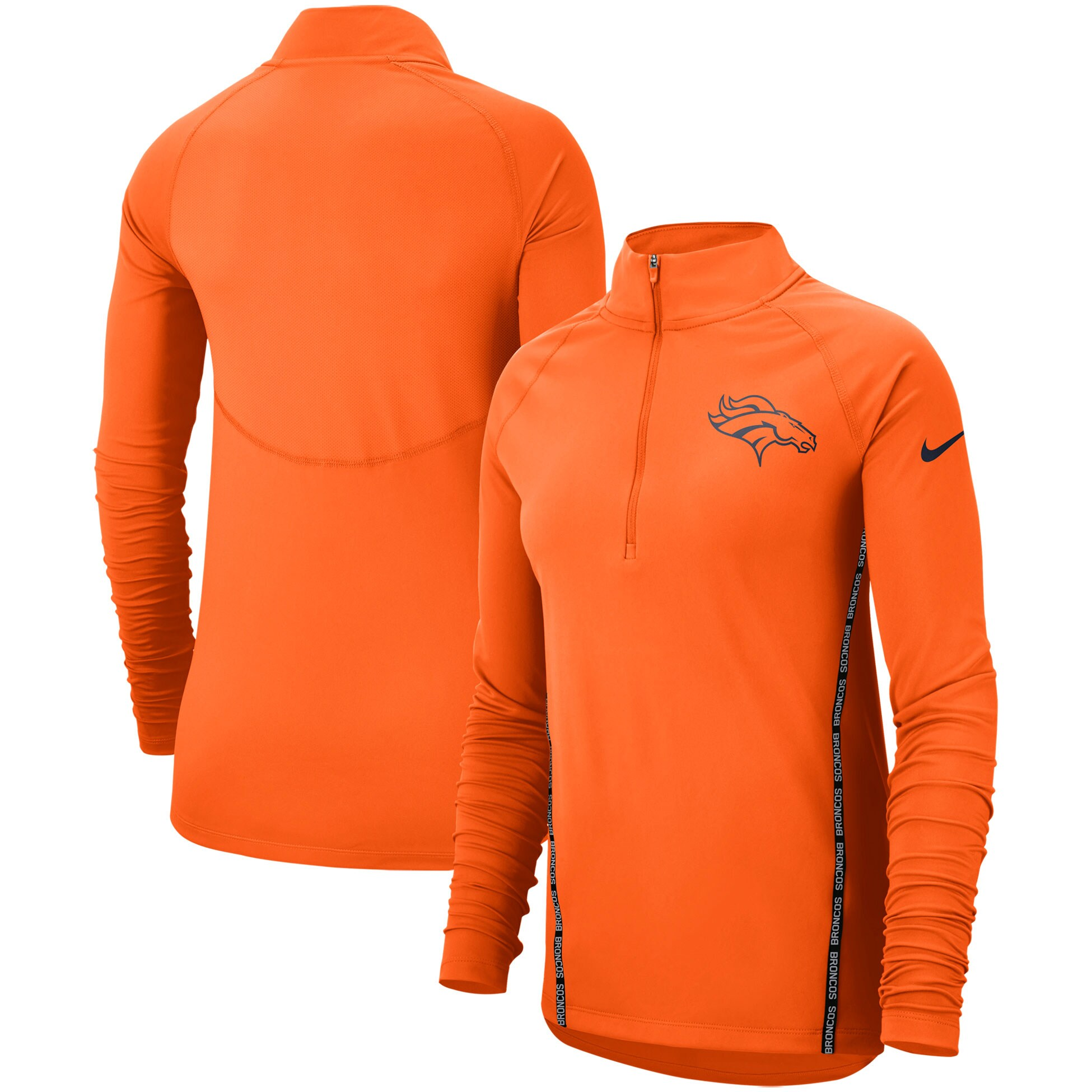 Denver Broncos Nike Women's Core Half-Zip Pullover Jacket - Orange