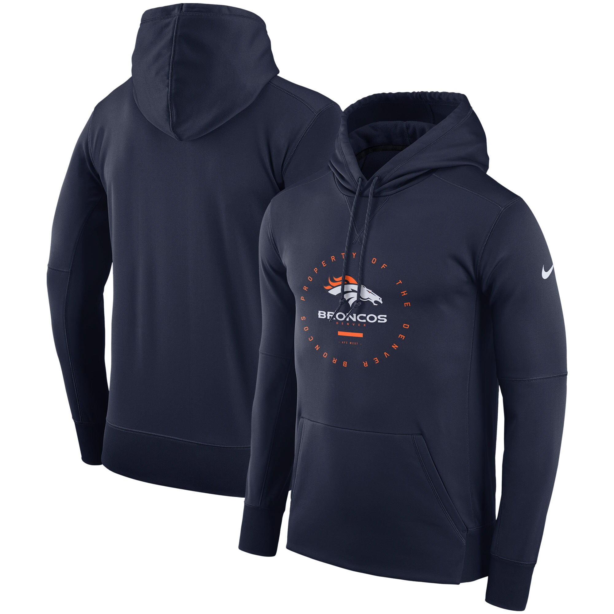 Denver Broncos Nike Sideline Property Of Wordmark Logo Performance Pullover Hoodie - Navy