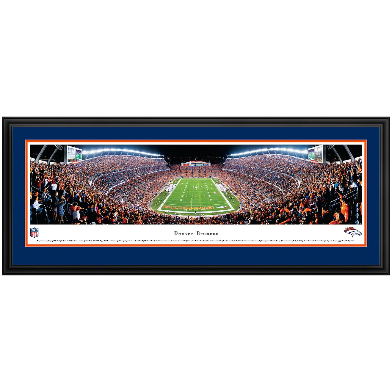 "Denver Broncos 44"" x 18"" End Zone Deluxe Frame Panoramic Photo"