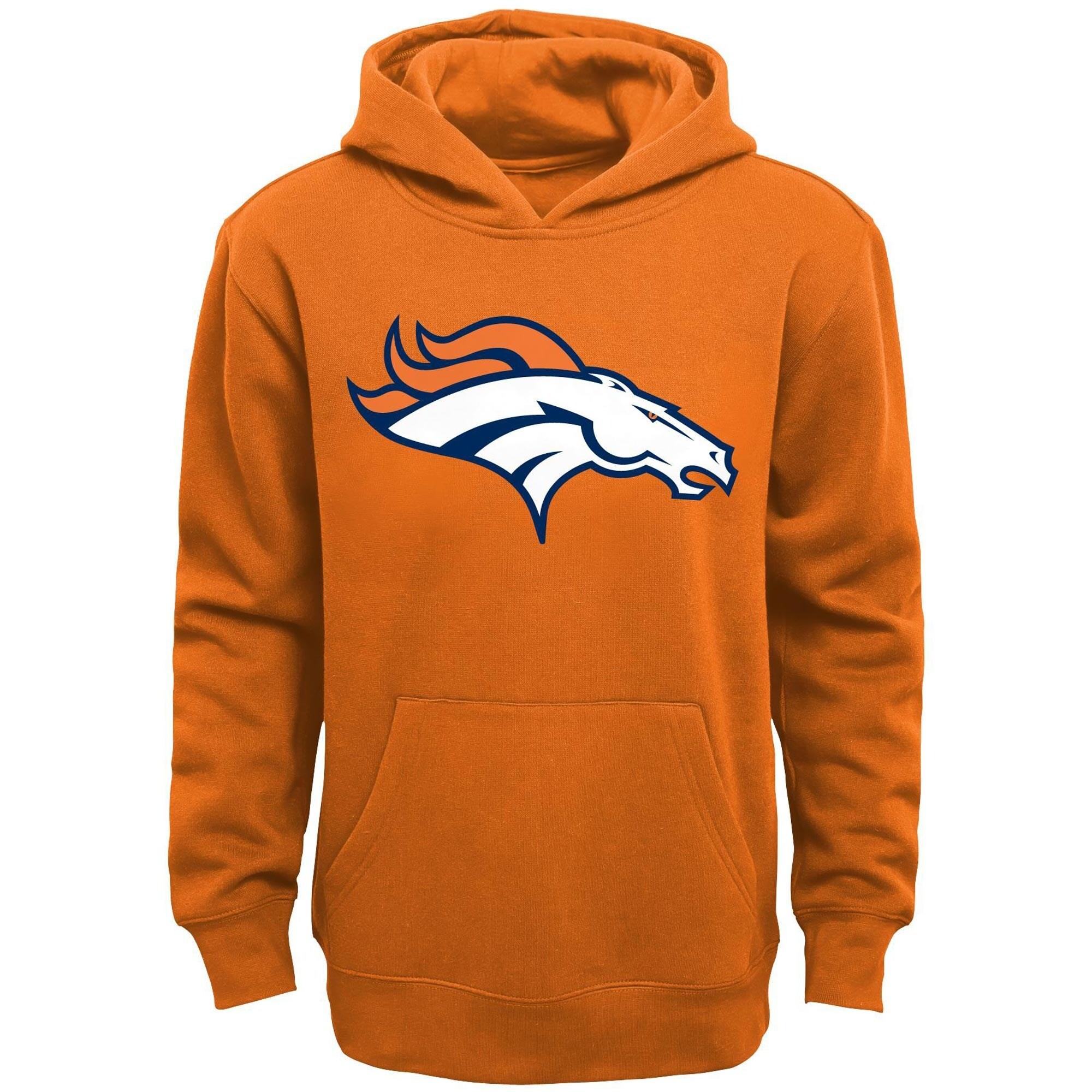 Denver Broncos Youth Primary Logo Team Color Fleece Pullover Hoodie - Orange