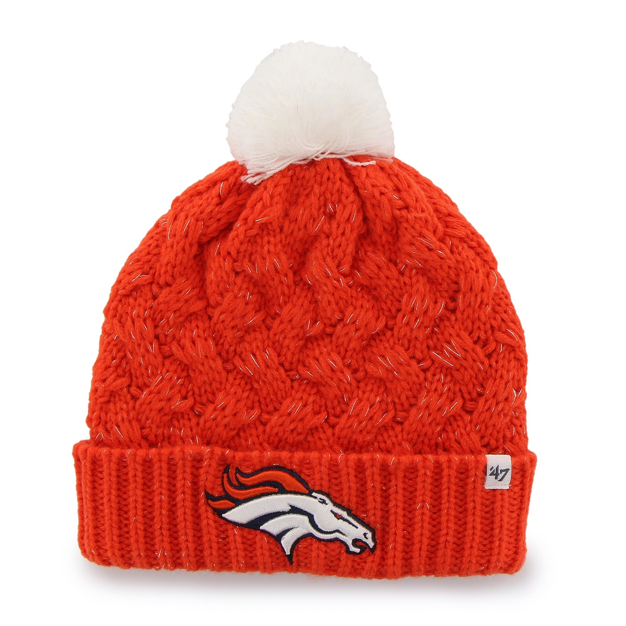 Denver Broncos '47 Brand Womens Fiona Cuff With Pom Knit Beanie - Orange