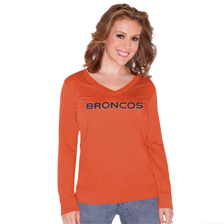 Denver Broncos Touch by Alyssa Milano Women's Lana V-Neck Pullover Sweatshirt - Orange