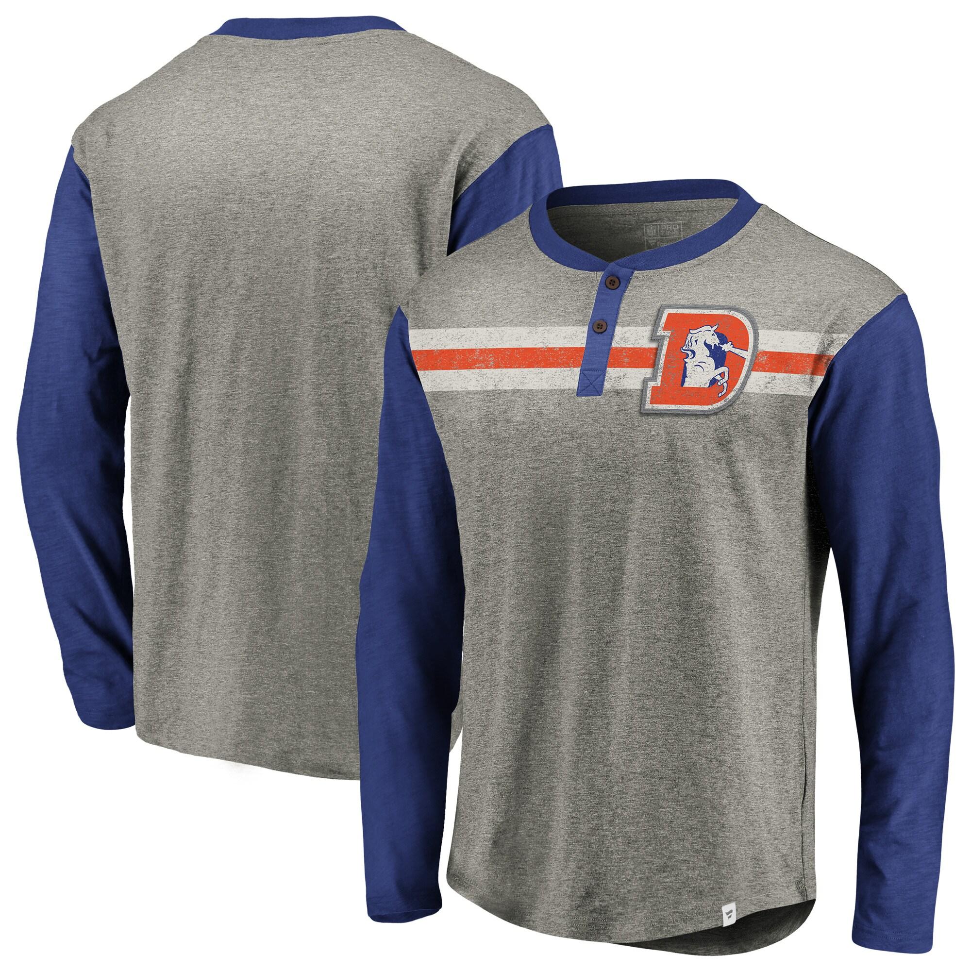 Denver Broncos NFL Pro Line by Fanatics Branded Big & Tall True Classics Henley Long Sleeve T-Shirt - Heathered Gray/Royal