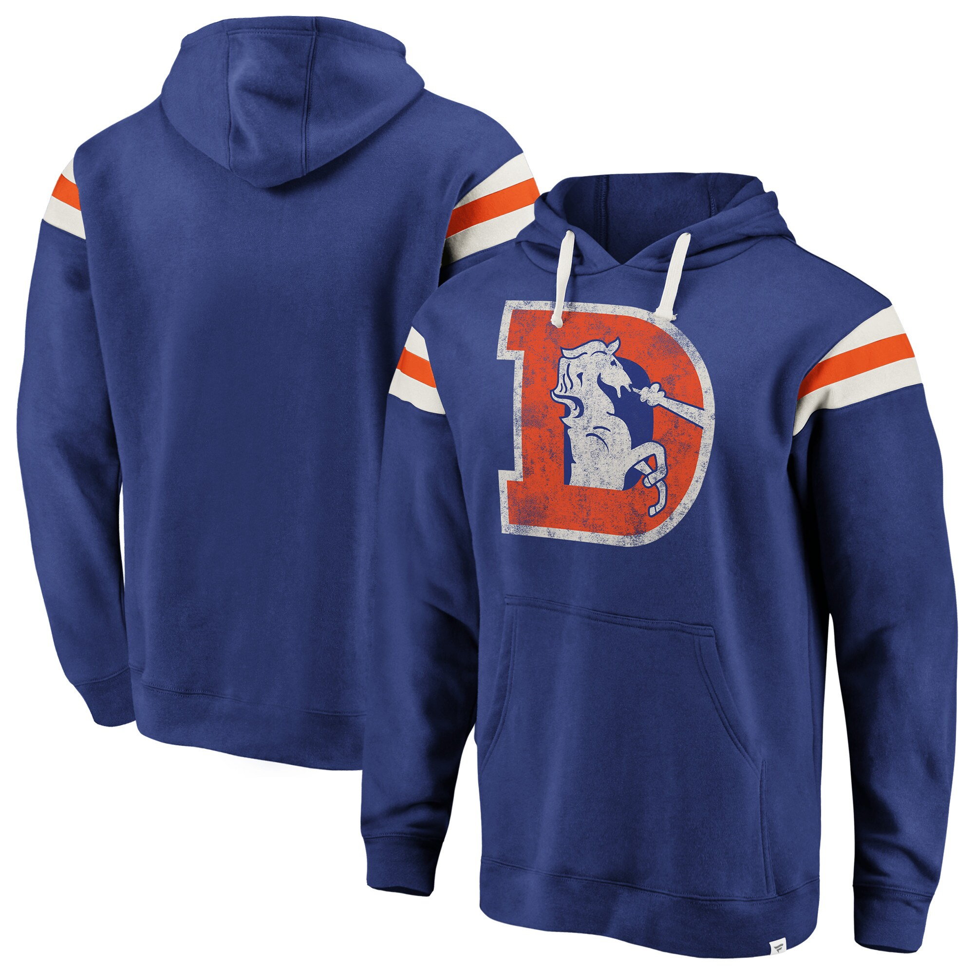 Denver Broncos NFL Pro Line by Fanatics Branded Big & Tall True Classics Retro Stripe Pullover Hoodie - Royal