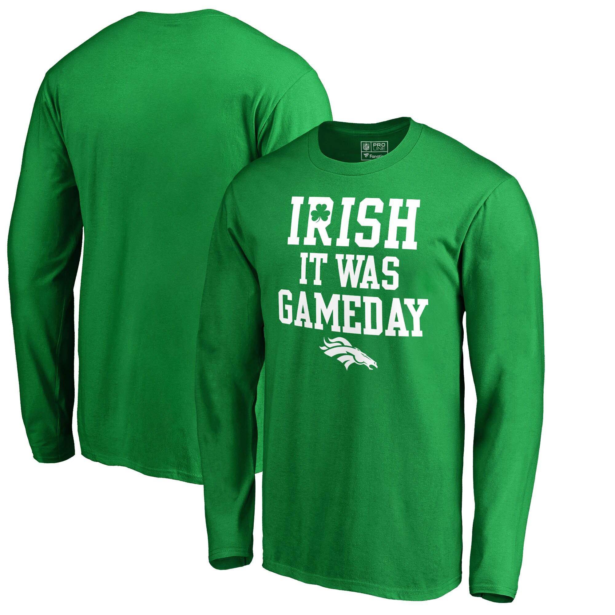 Denver Broncos NFL Pro Line by Fanatics Branded Irish Gameday Long Sleeve T-Shirt - Kelly Green