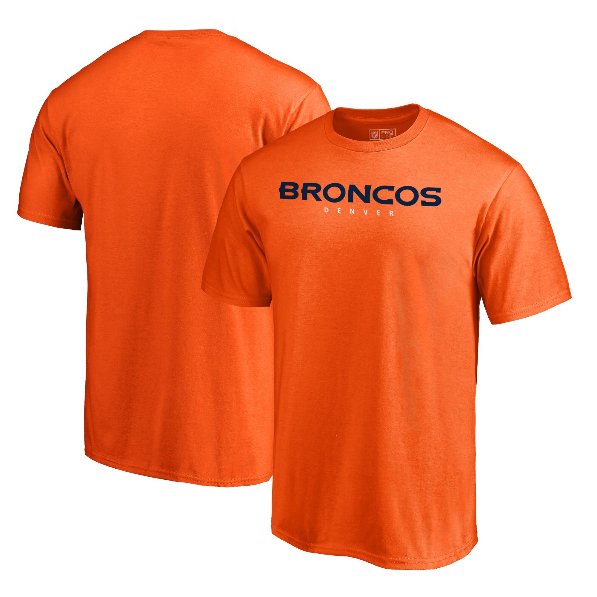 Denver Broncos NFL Pro Line by Fanatics Branded Wordmark T-Shirt - Orange