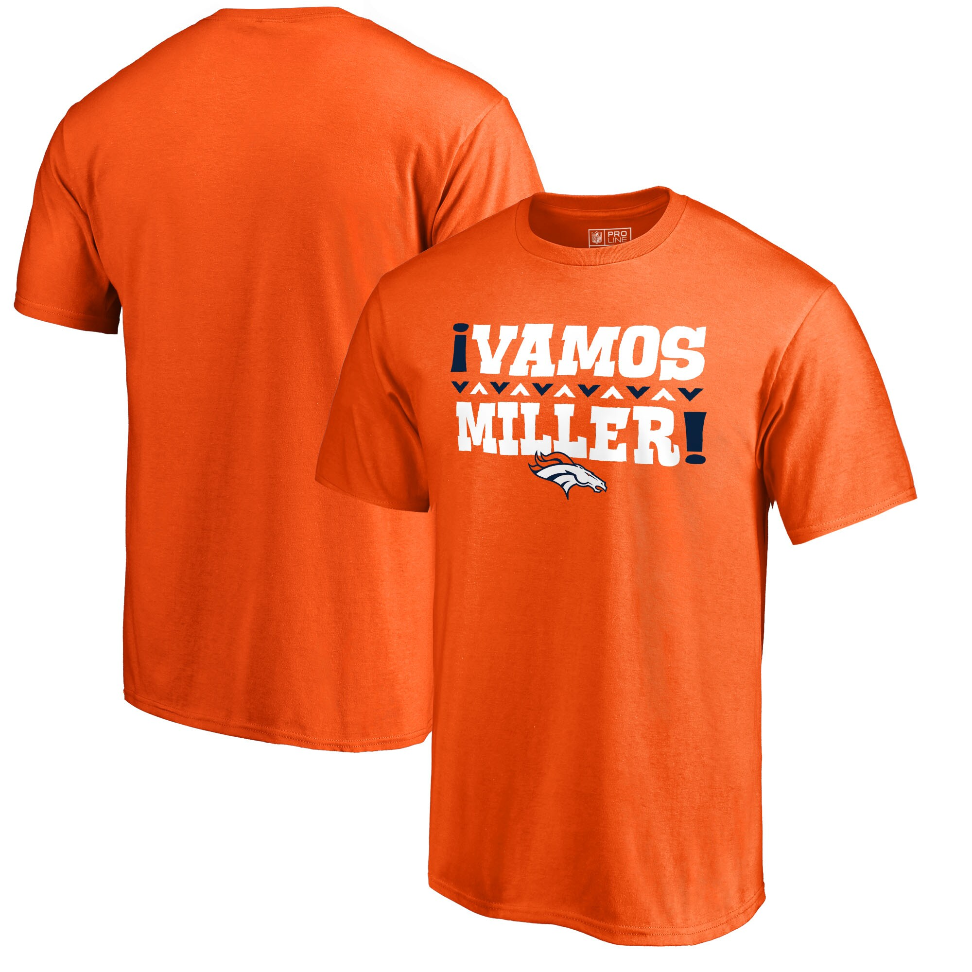 Von Miller Denver Broncos NFL Pro Line by Fanatics Branded Vamos T-Shirt - Orange