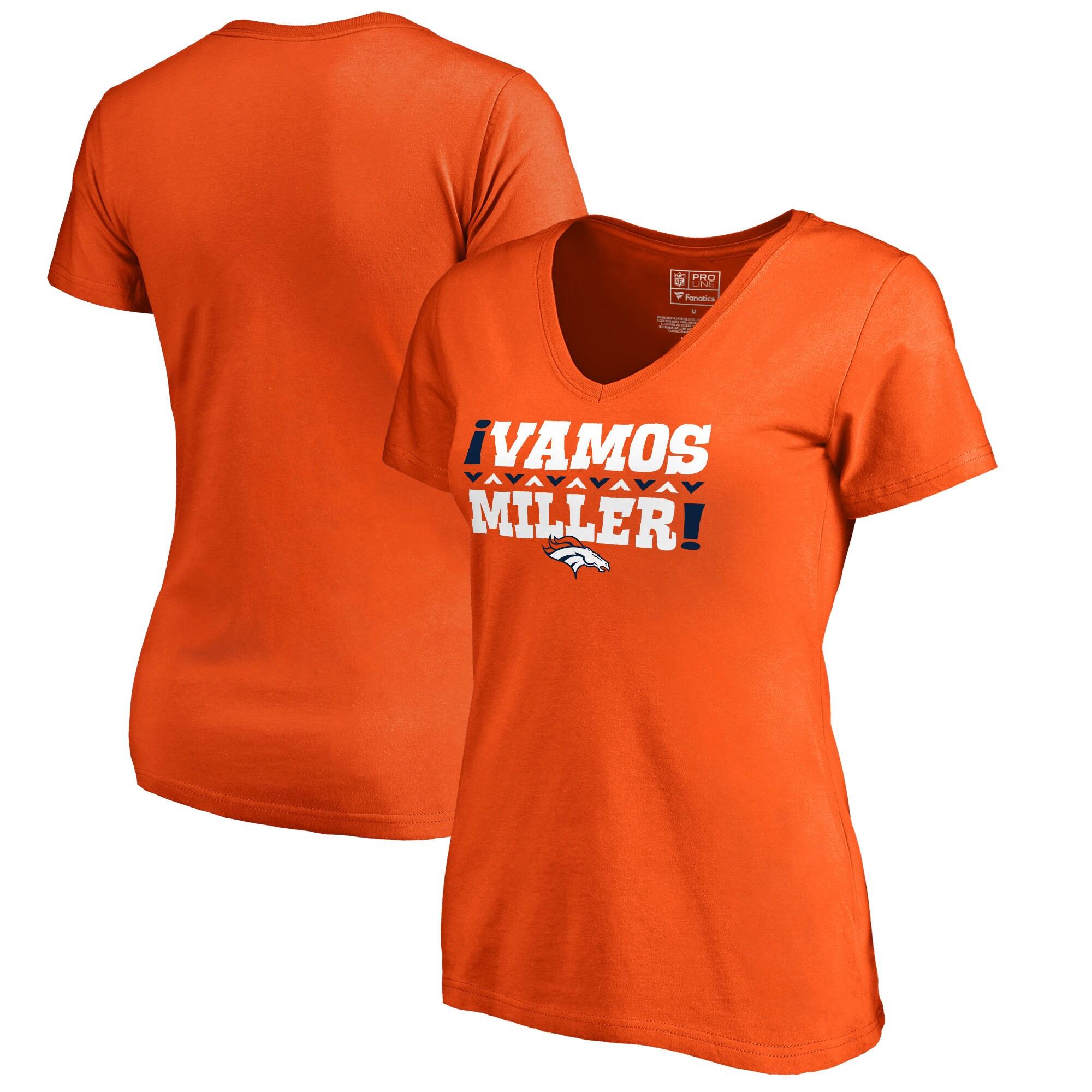 Von Miller Denver Broncos NFL Pro Line by Fanatics Branded Women's Vamos V-Neck T-Shirt - Orange