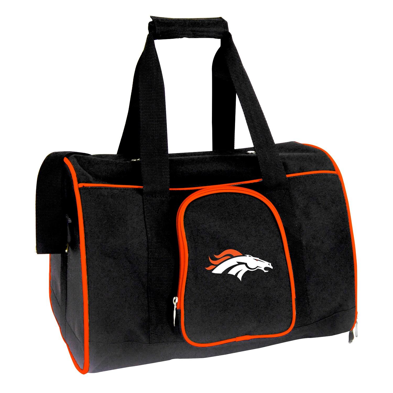 """Denver Broncos Small 16"""" Pet Carrier - Black"""