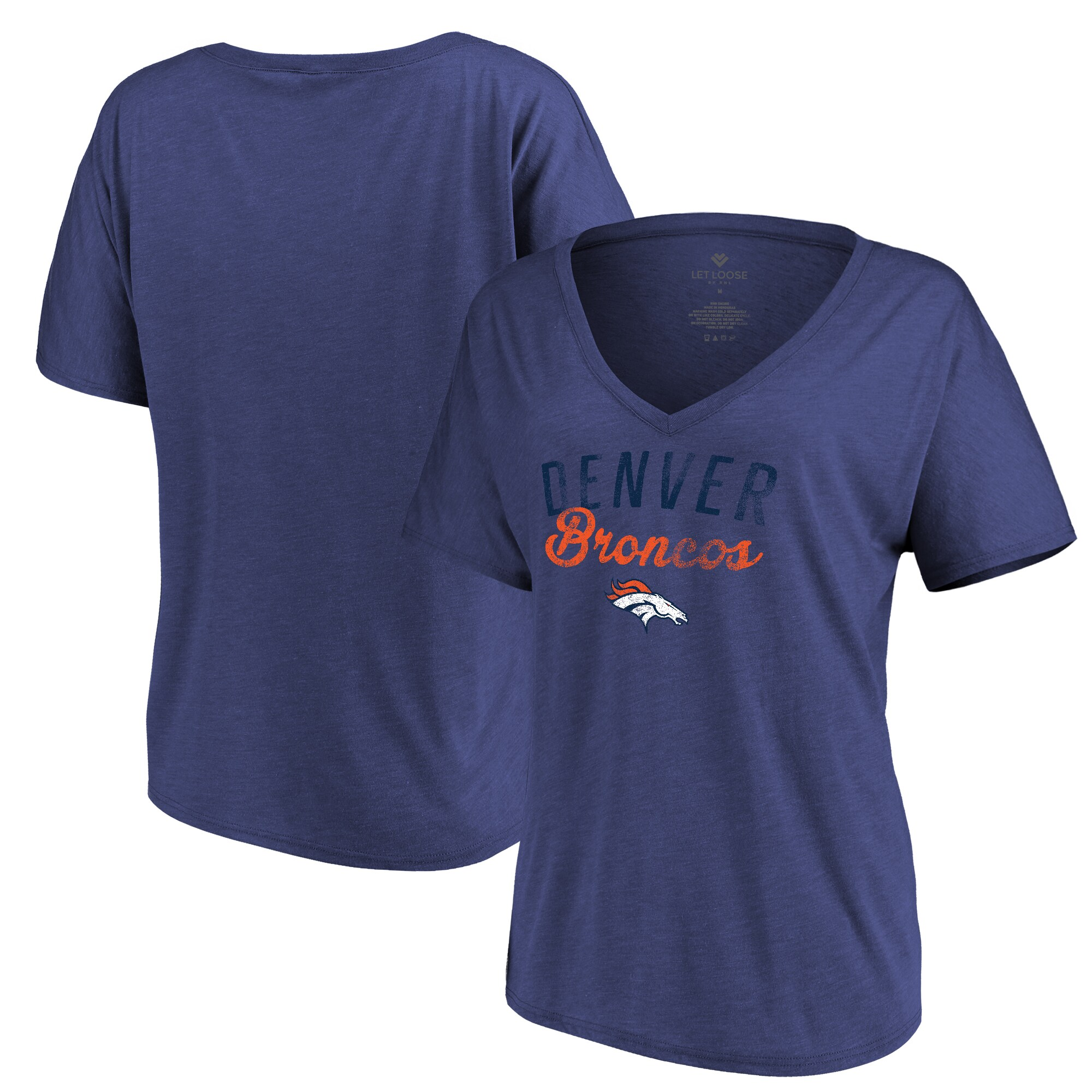 Denver Broncos Let Loose by RNL Women's Endless V-Neck T-Shirt - Heathered Navy