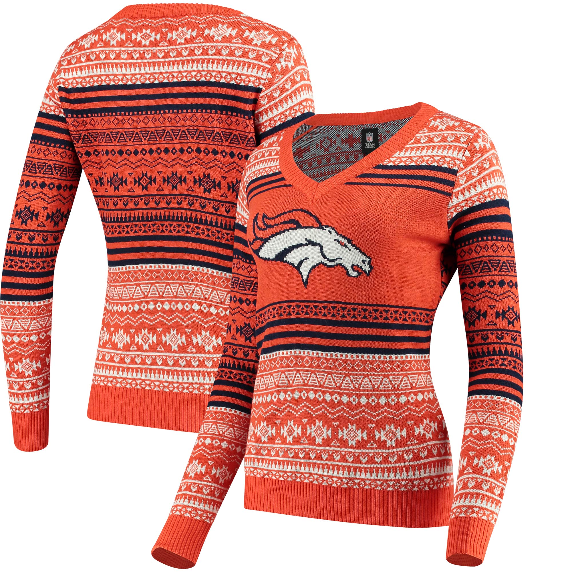 Denver Broncos Women's Big Logo Aztec V-Neck Sweater - Orange