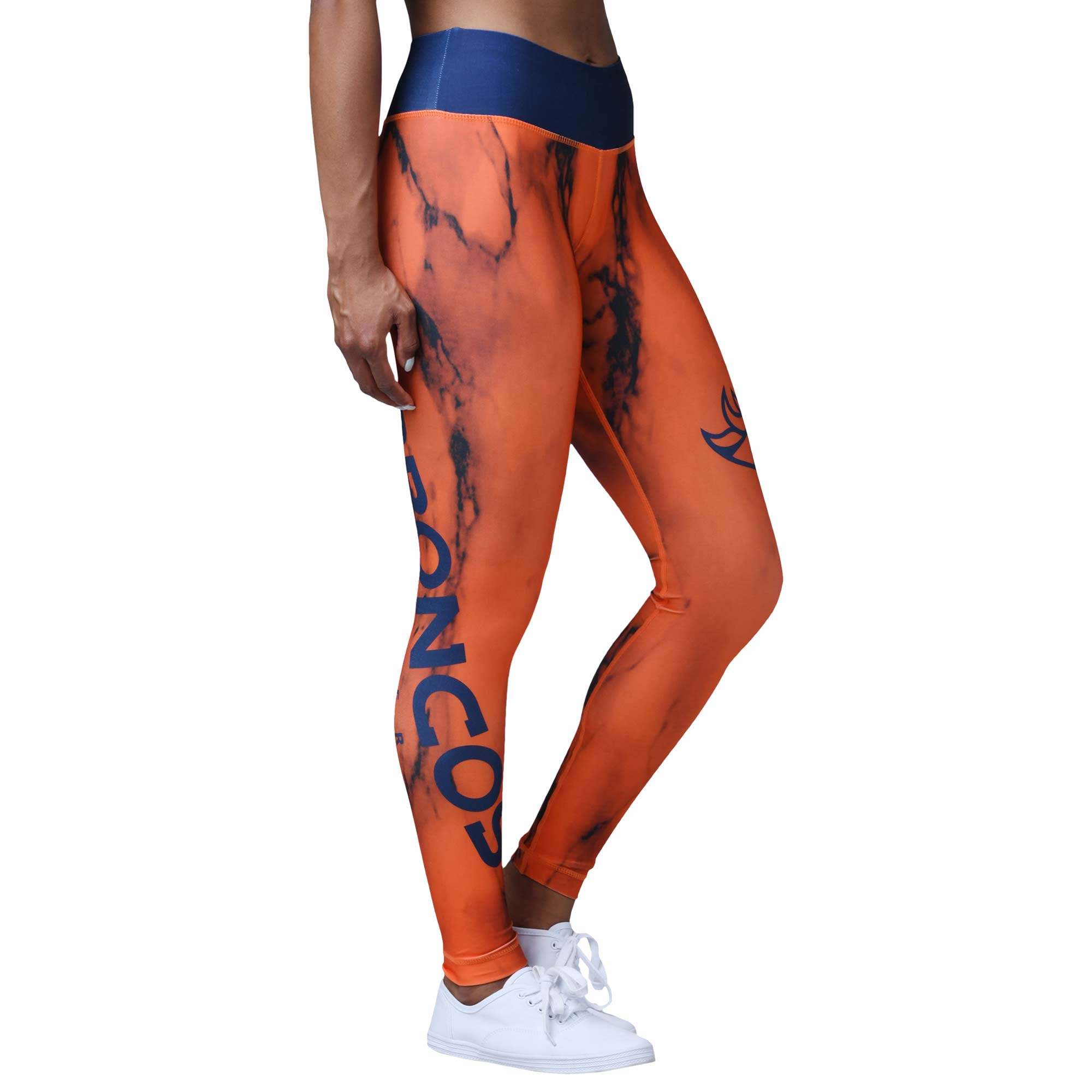 Denver Broncos Women's Team Color Marble Wordmark Leggings - Orange